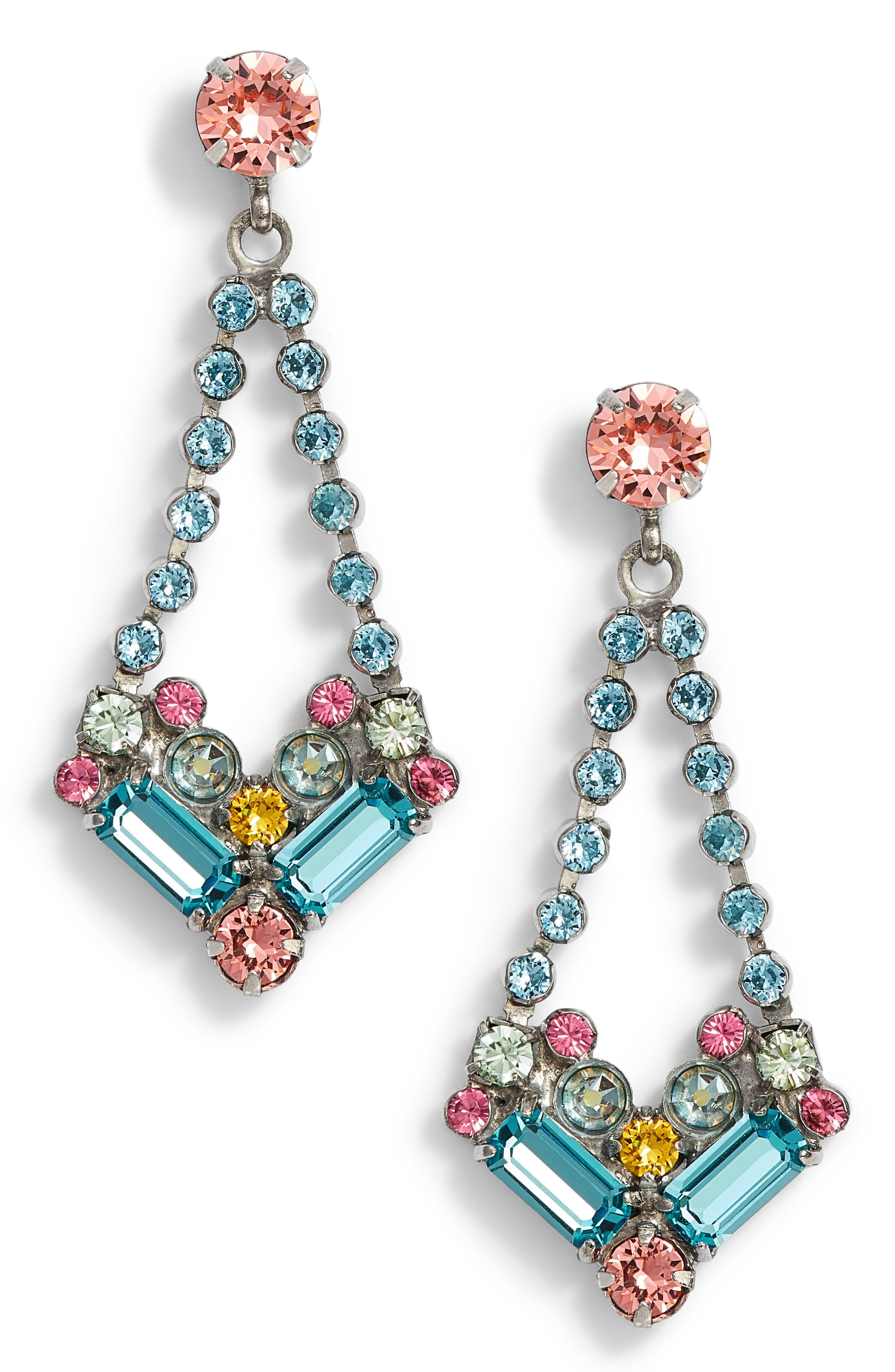 Kalmia Earrings,                             Main thumbnail 1, color,                             Aqua/ Pink/ Green