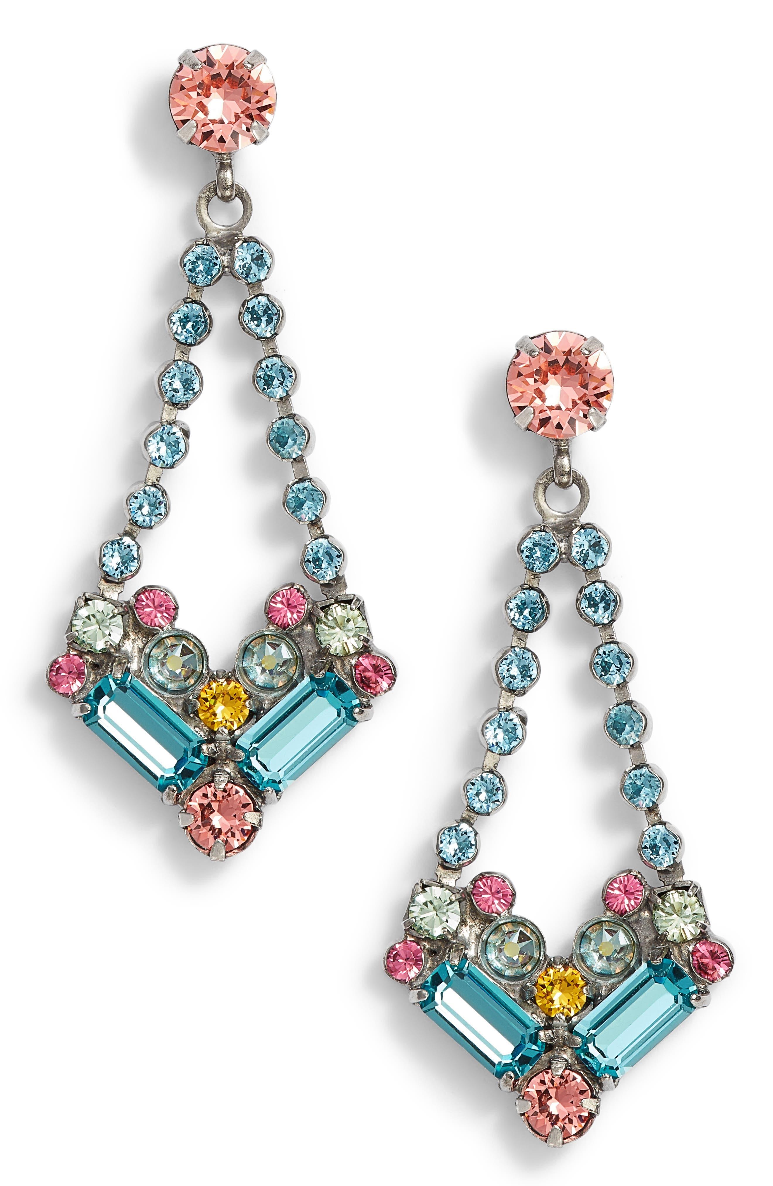 Kalmia Earrings,                         Main,                         color, Aqua/ Pink/ Green