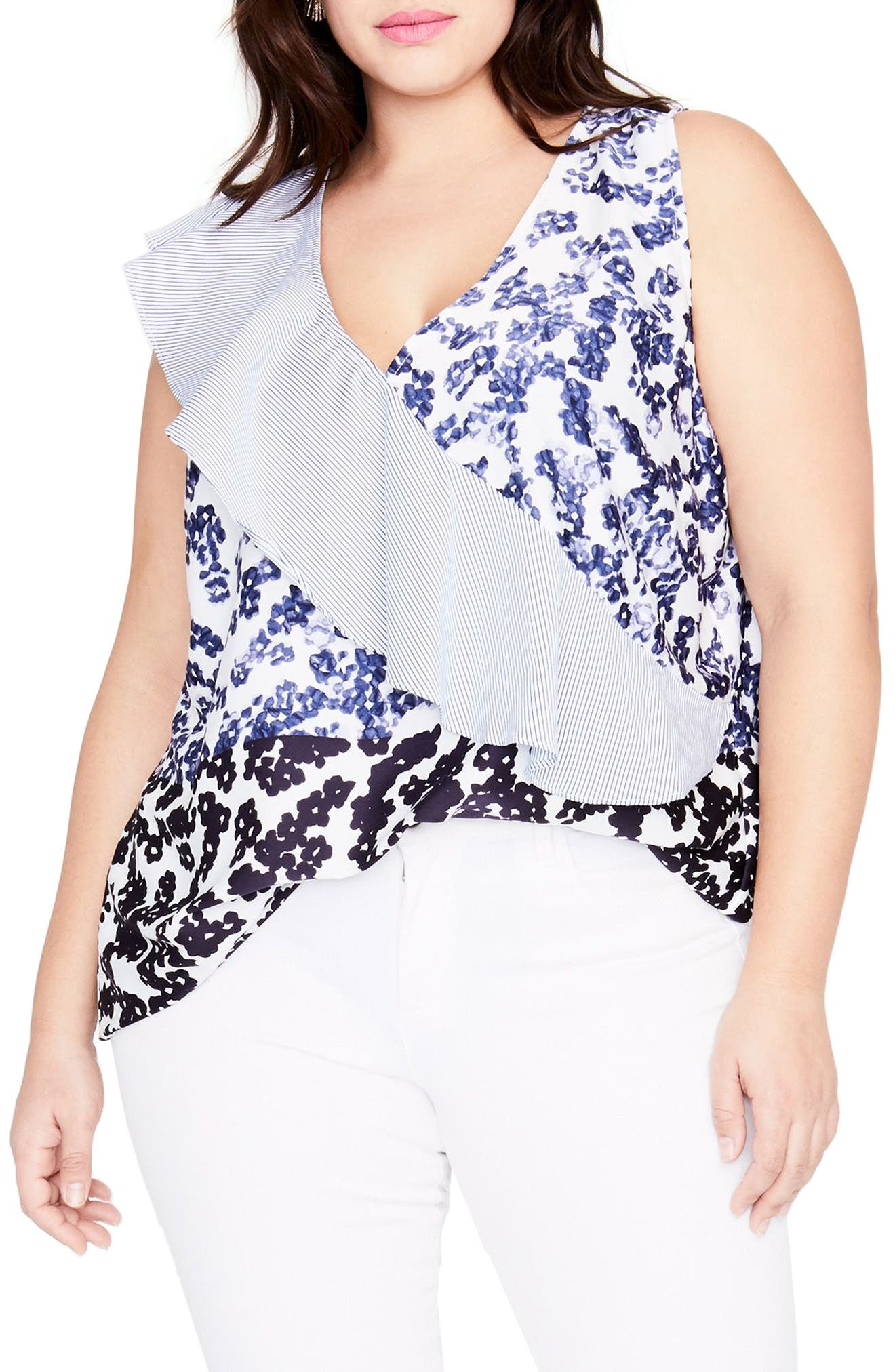 Ruffle Sash Floral Top,                         Main,                         color, Blooming Floral