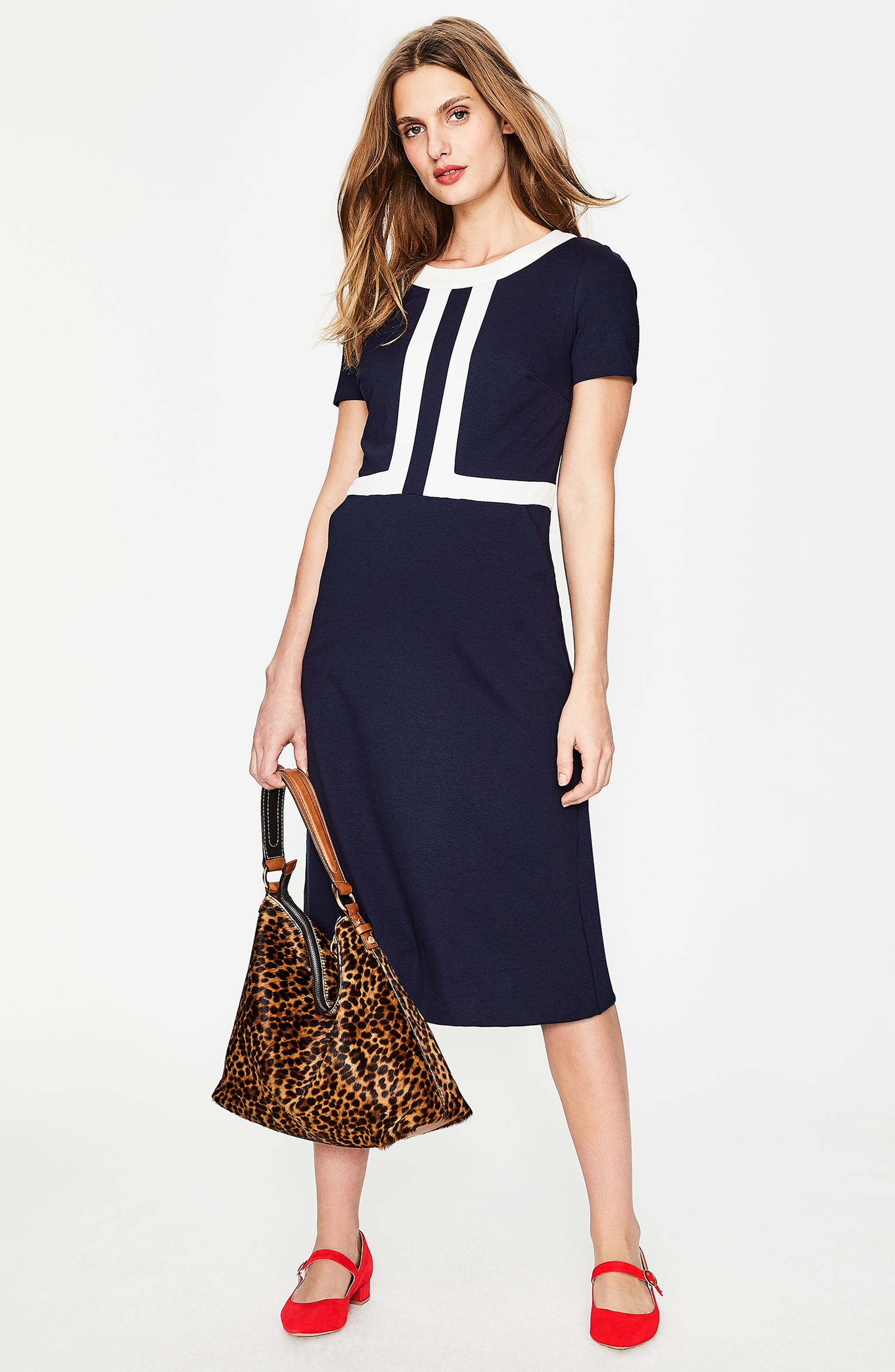 Colorblock A-Line Dress,                             Alternate thumbnail 2, color,                             Navy/ Ivory
