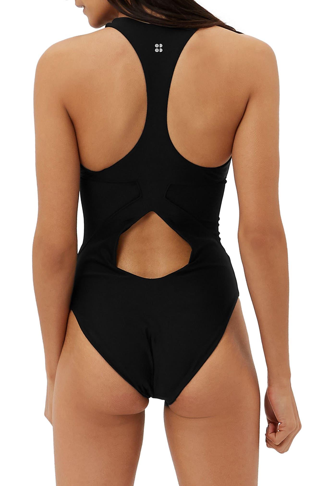 Carve One-Piece Swimsuit,                             Alternate thumbnail 4, color,                             Black