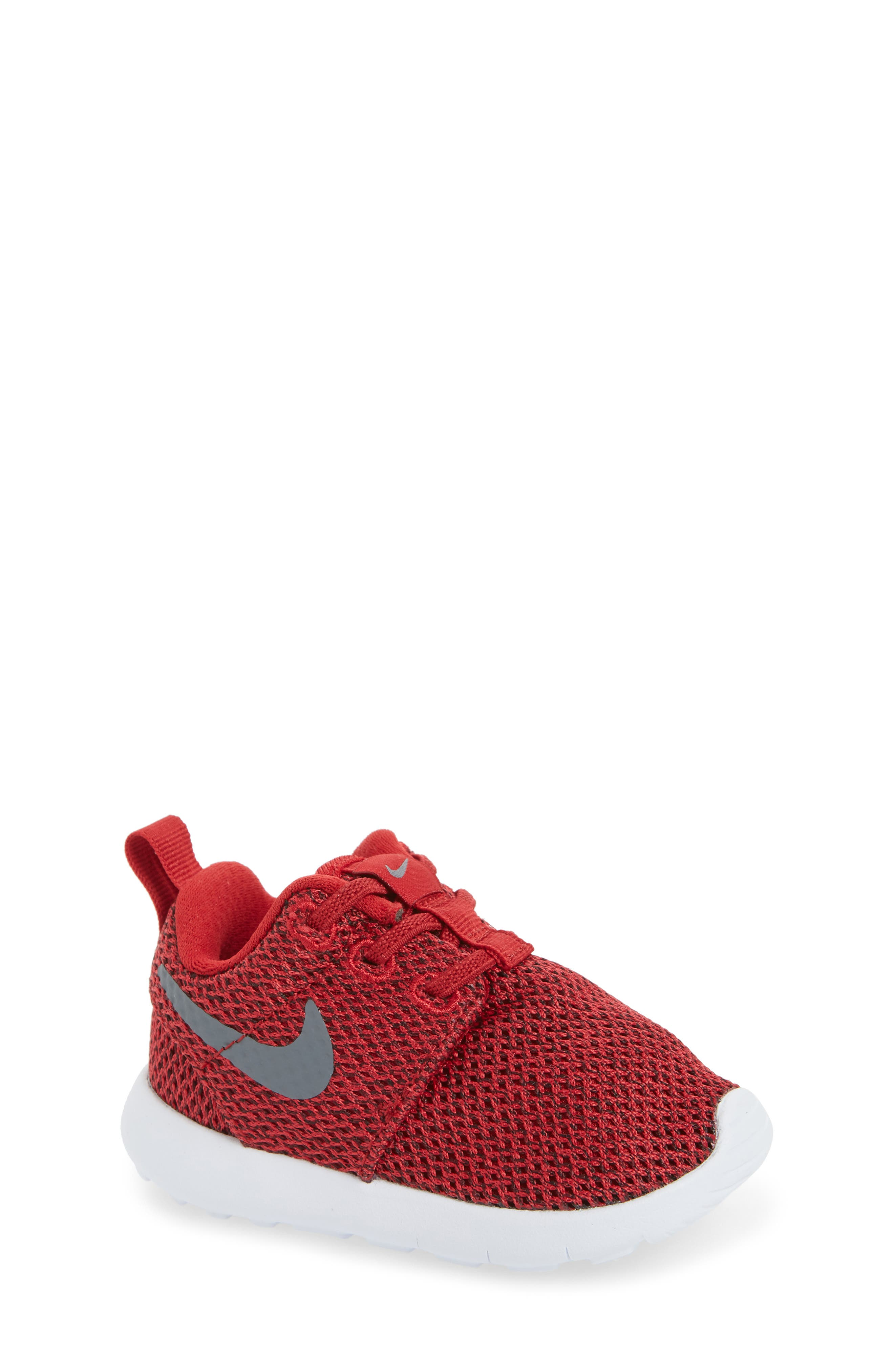 'Roshe Run' Sneaker,                             Main thumbnail 1, color,                             Gym Red/ Cool Grey/ Anthracite