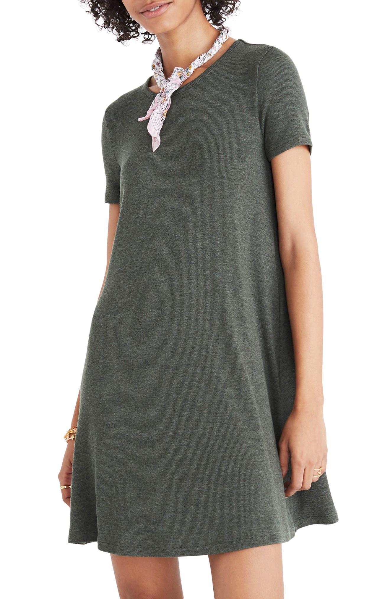 Ribbed Swingy T-Shirt Dress,                         Main,                         color, Heather Underwood