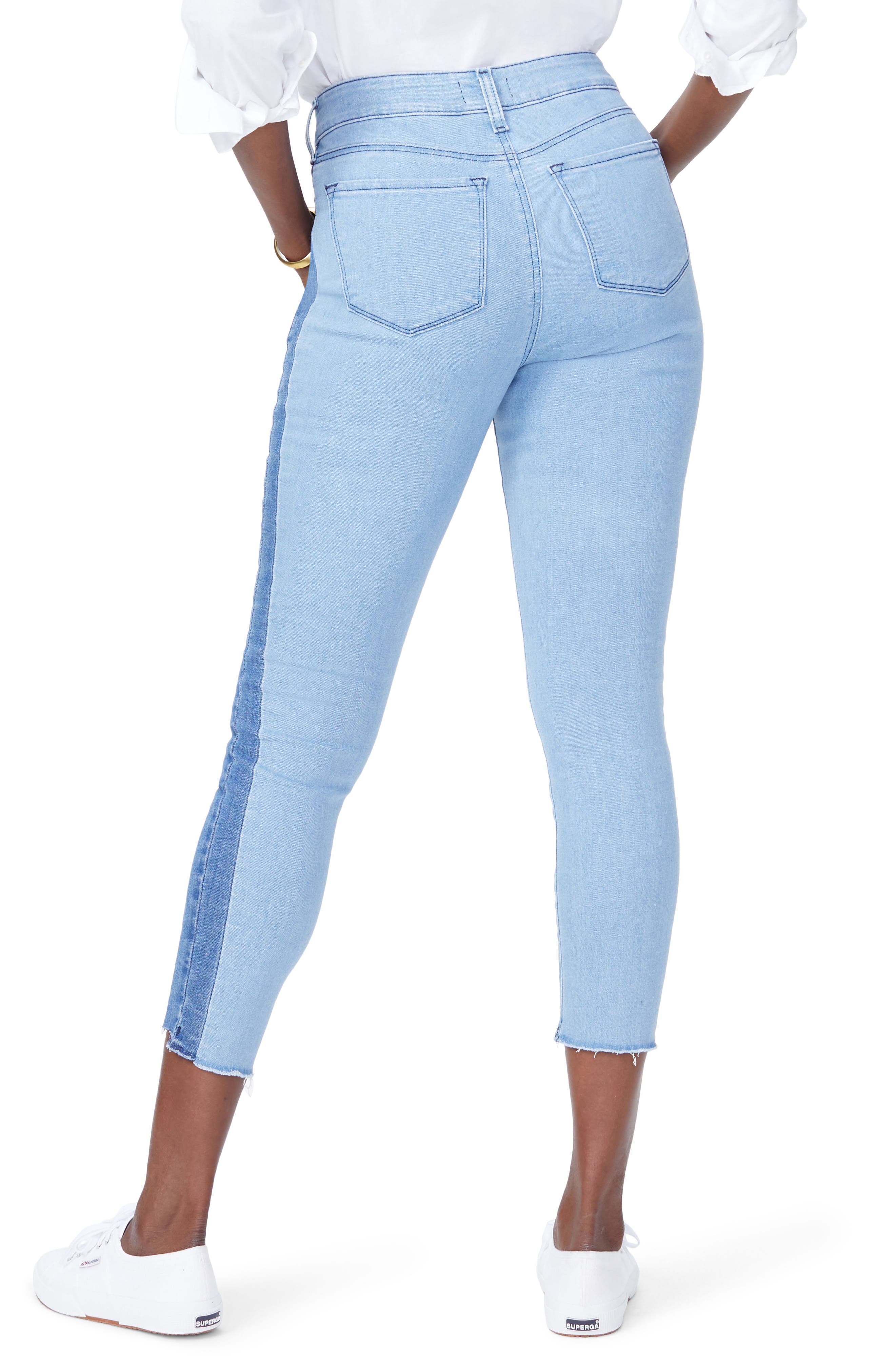Ami Stretch Ankle Skinny Contrast Step Hem Jeans,                             Alternate thumbnail 3, color,                             Blissful