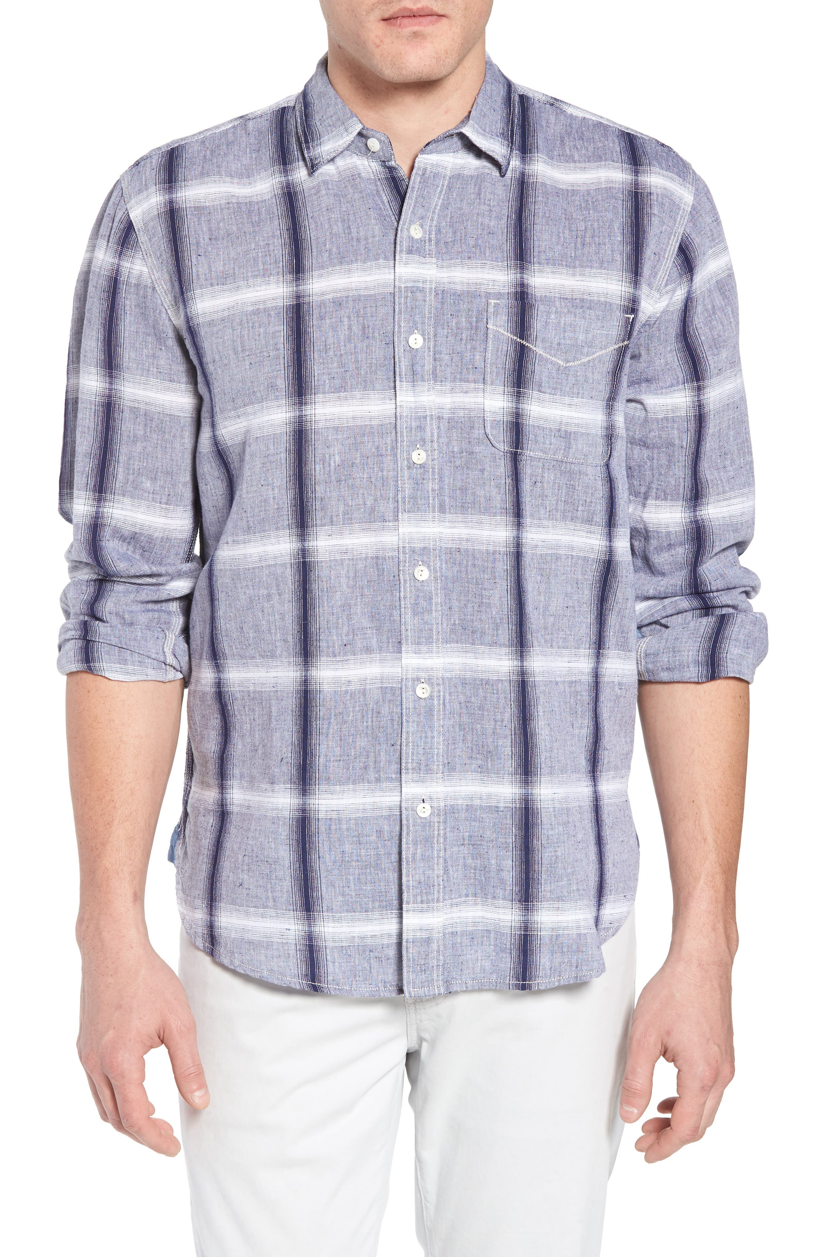 Ventura Windowpane Sport Shirt,                         Main,                         color, Denim
