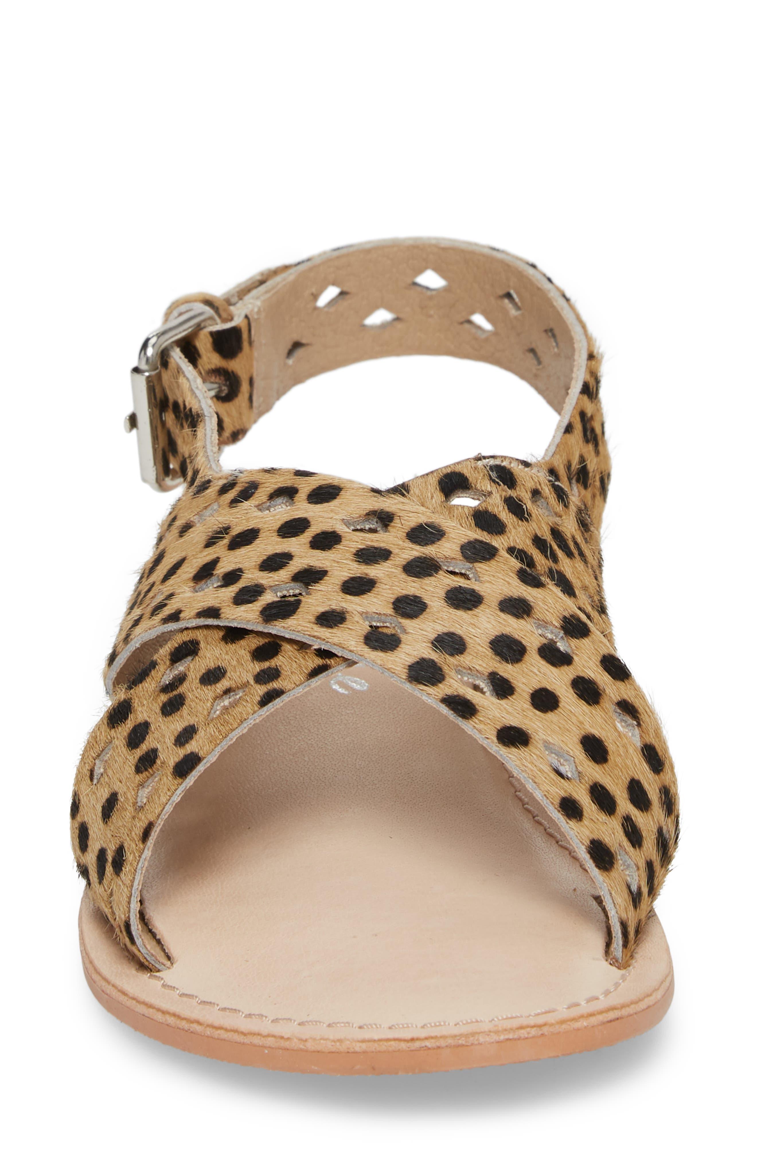 Whistler Genuine Calf Hair Sandal,                             Alternate thumbnail 4, color,                             Leopard