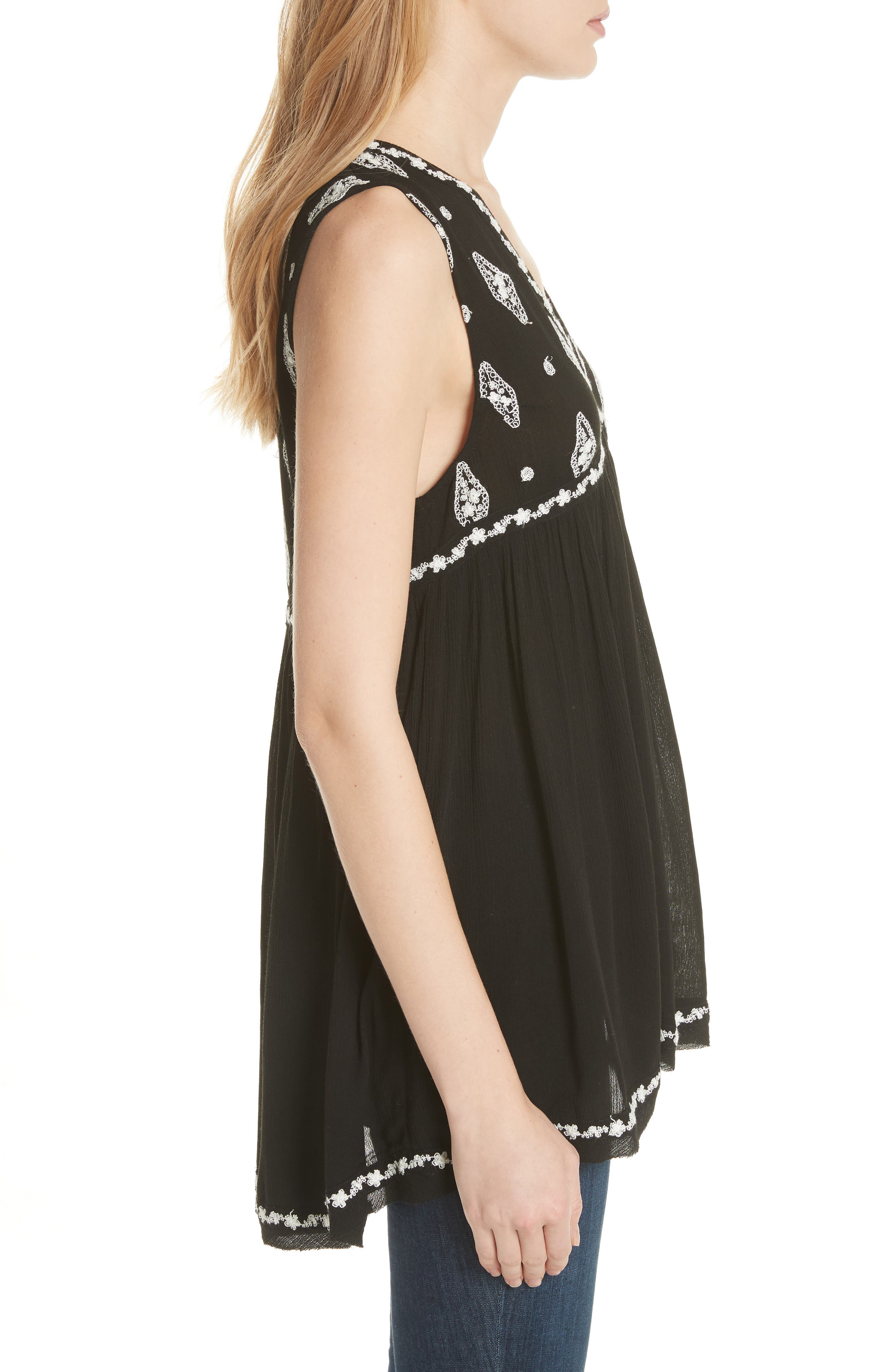 Embroidered Top,                             Alternate thumbnail 3, color,                             Black