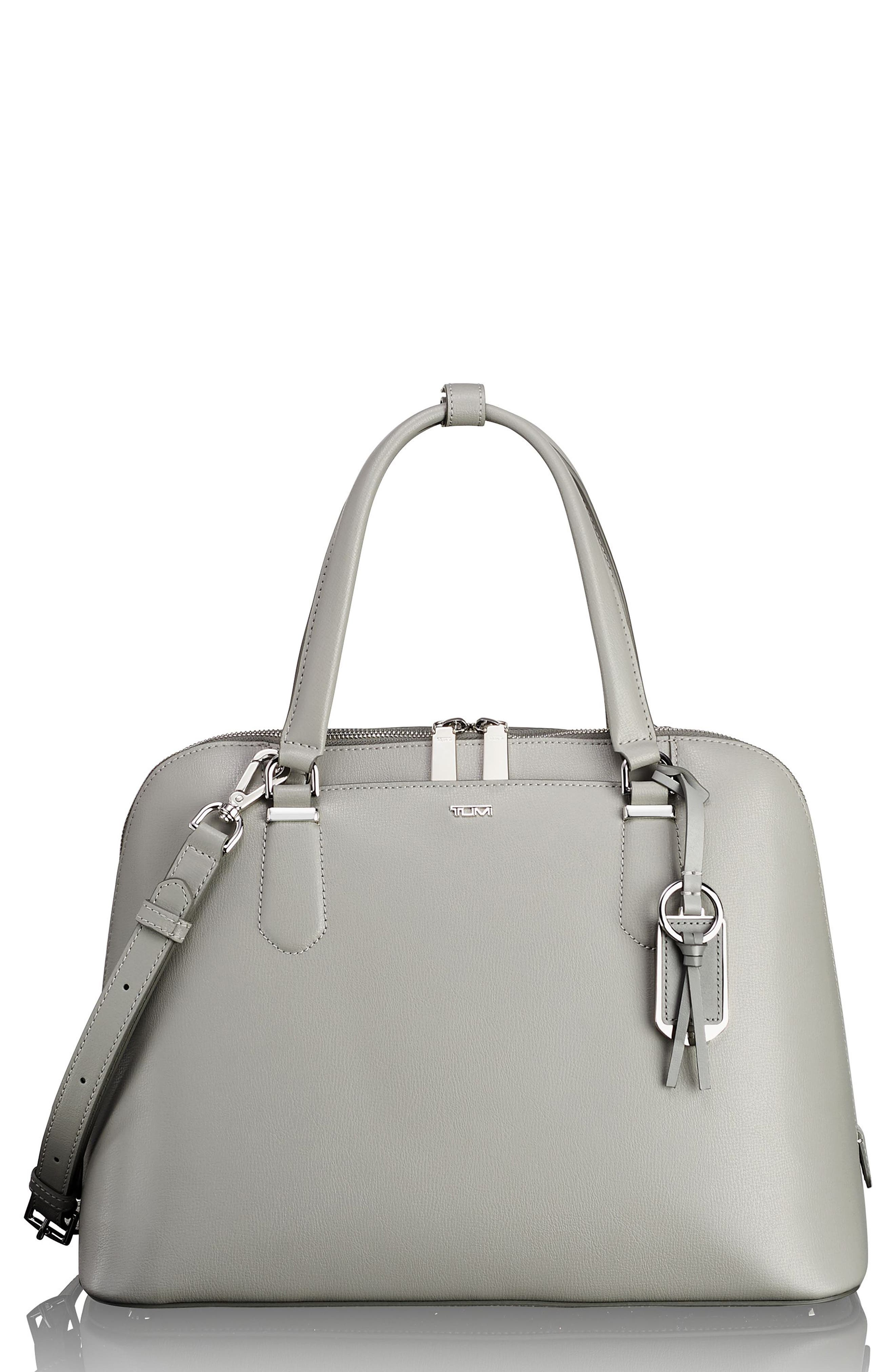 Stanton – Deonne Domed Leather Satchel,                             Main thumbnail 1, color,                             Light Grey