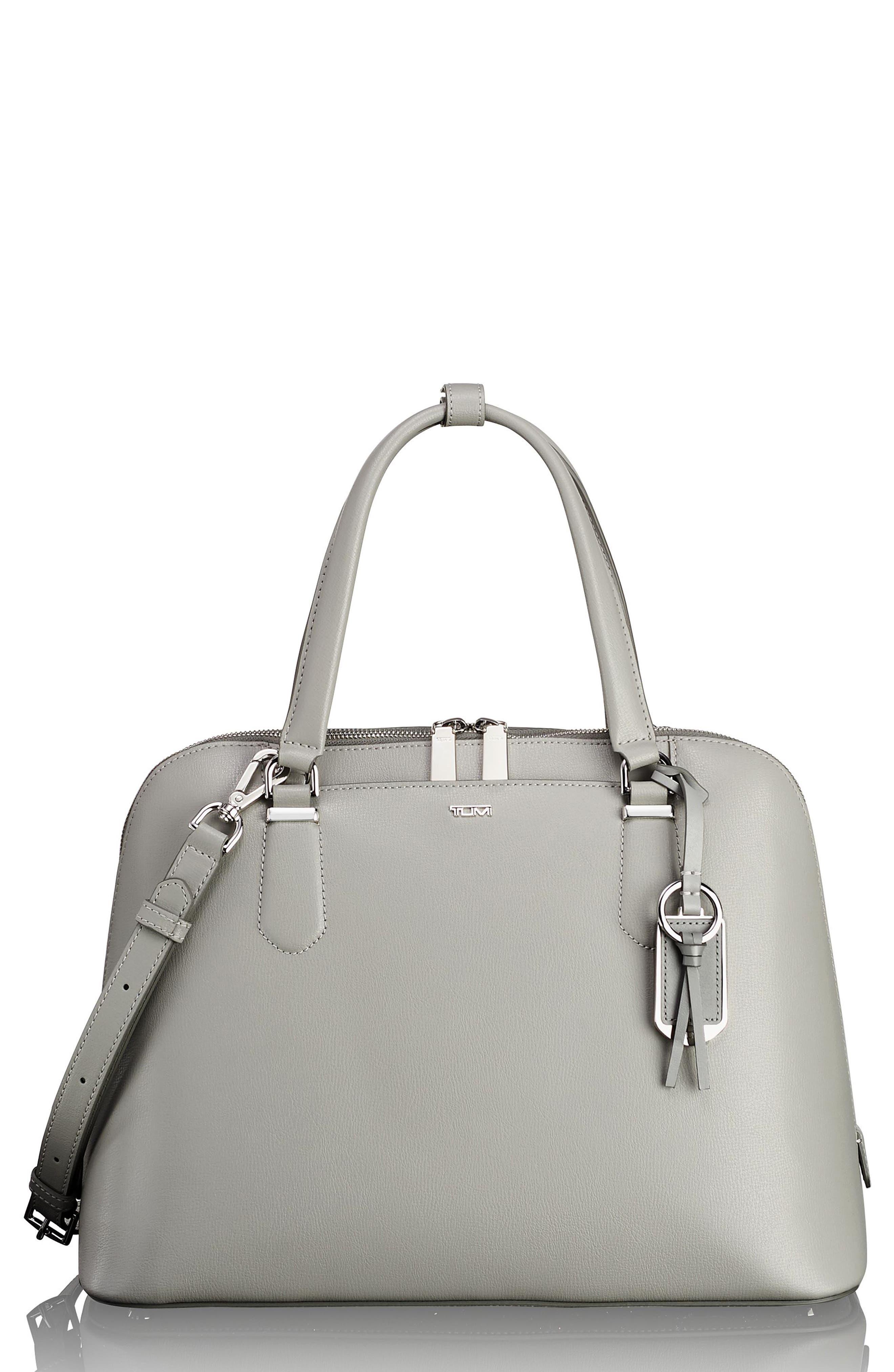 Stanton – Deonne Domed Leather Satchel,                         Main,                         color, Light Grey