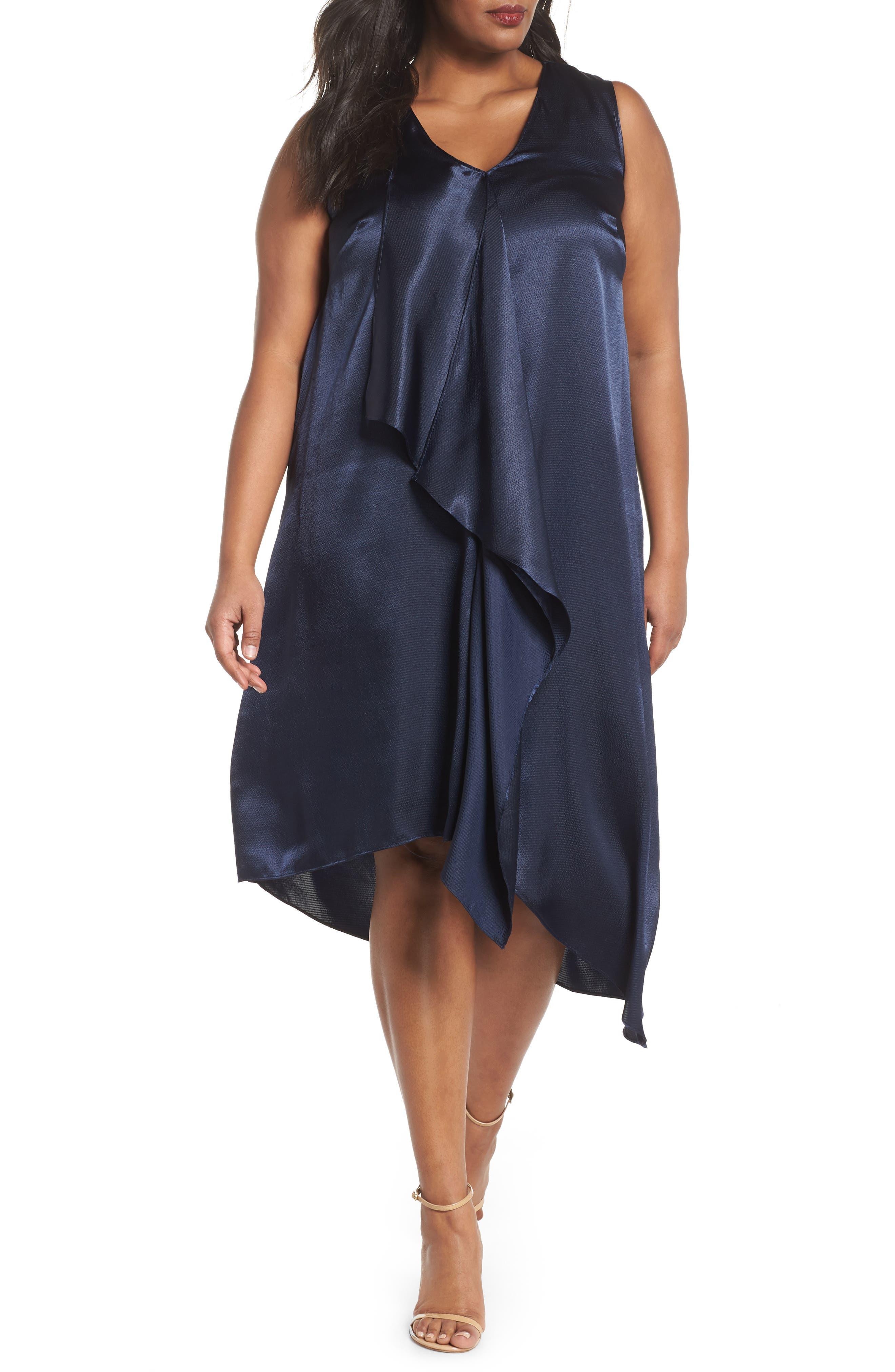 Adrianna Papell Asymmetrical Trapeze Dress (Plus Size)