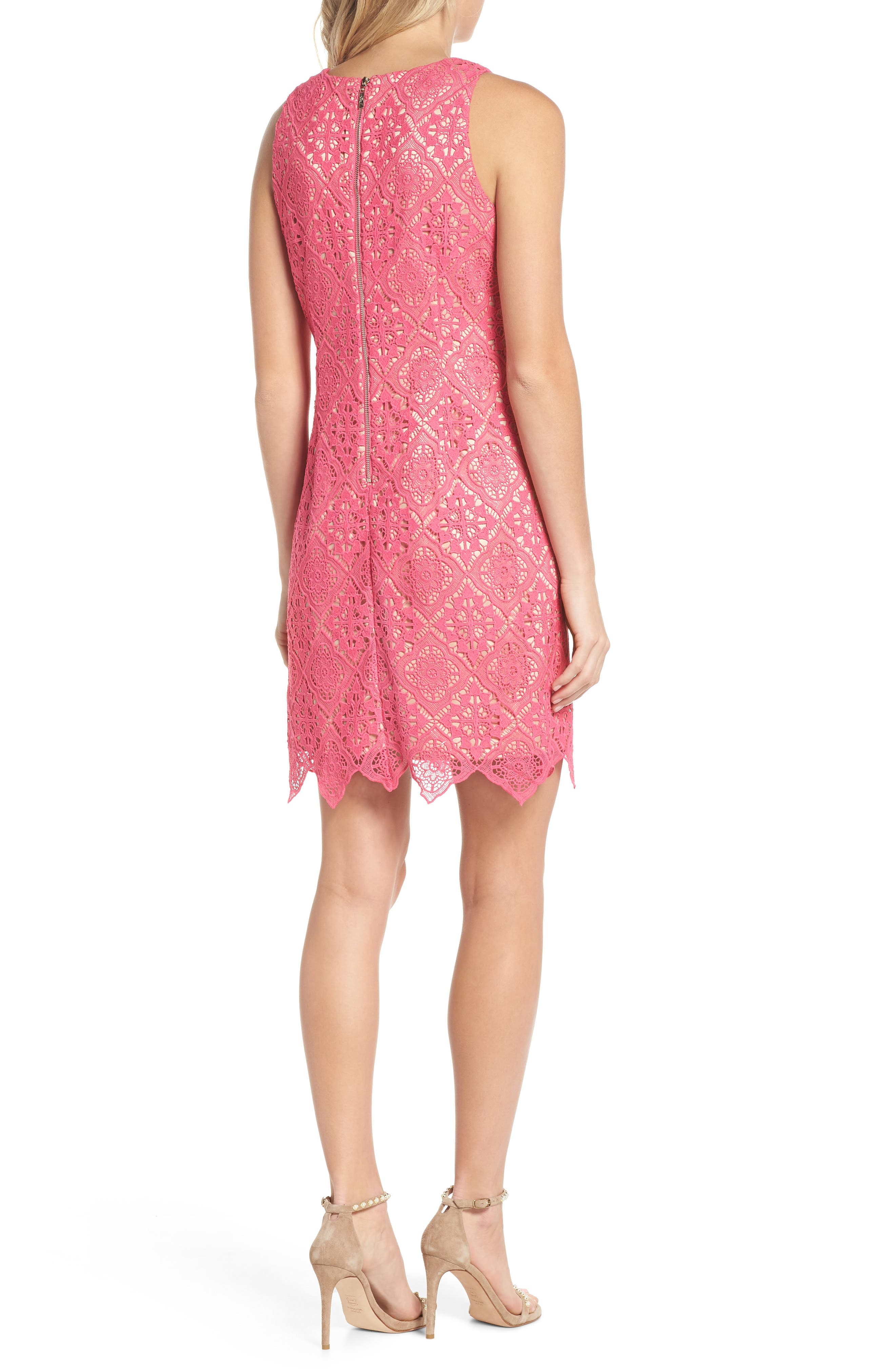 Sleeveless Lace Shift Dress,                             Alternate thumbnail 2, color,                             Hot Pink