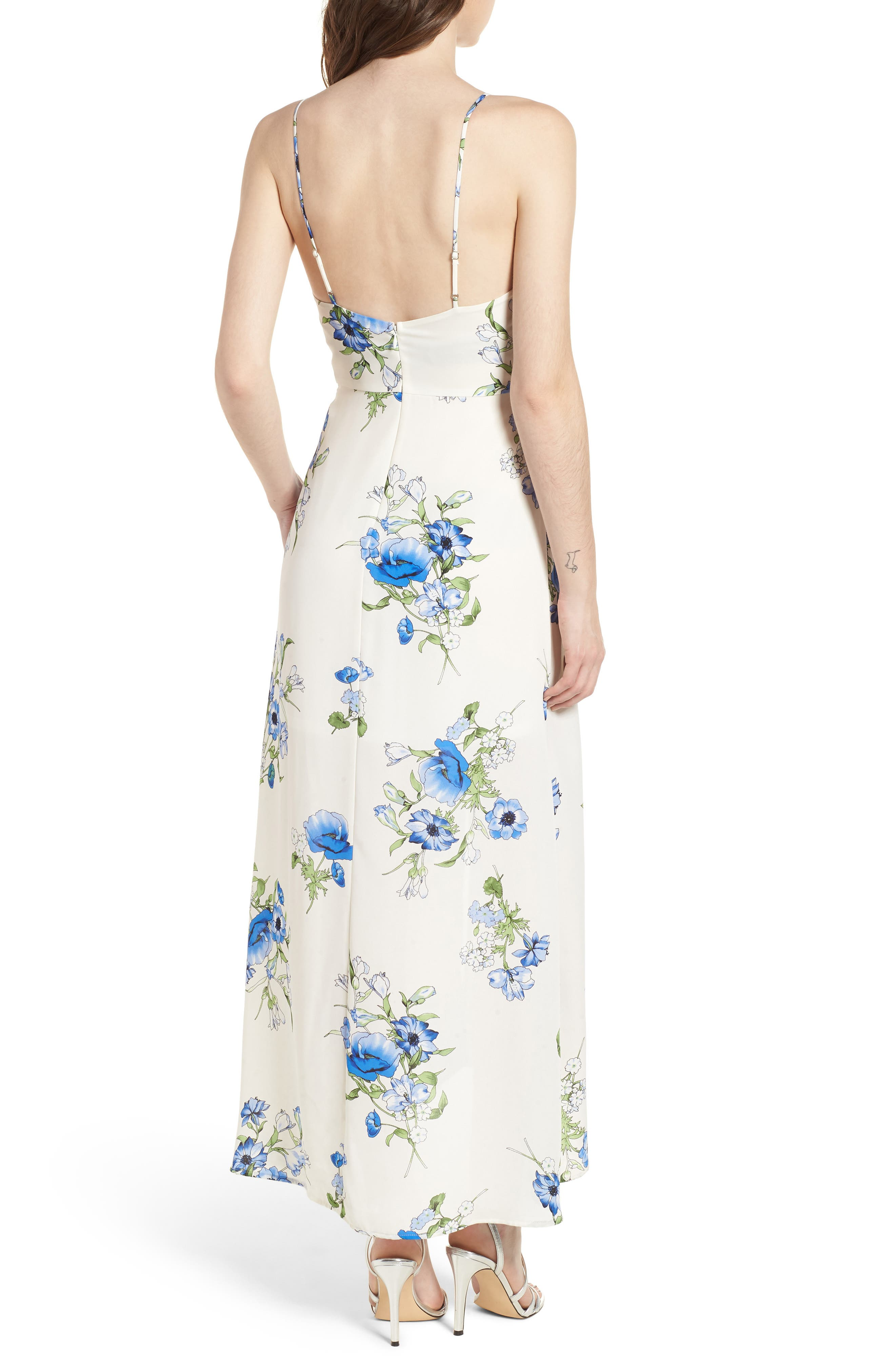 Floral Print Maxi Dress,                             Alternate thumbnail 2, color,                             Ivory Floral