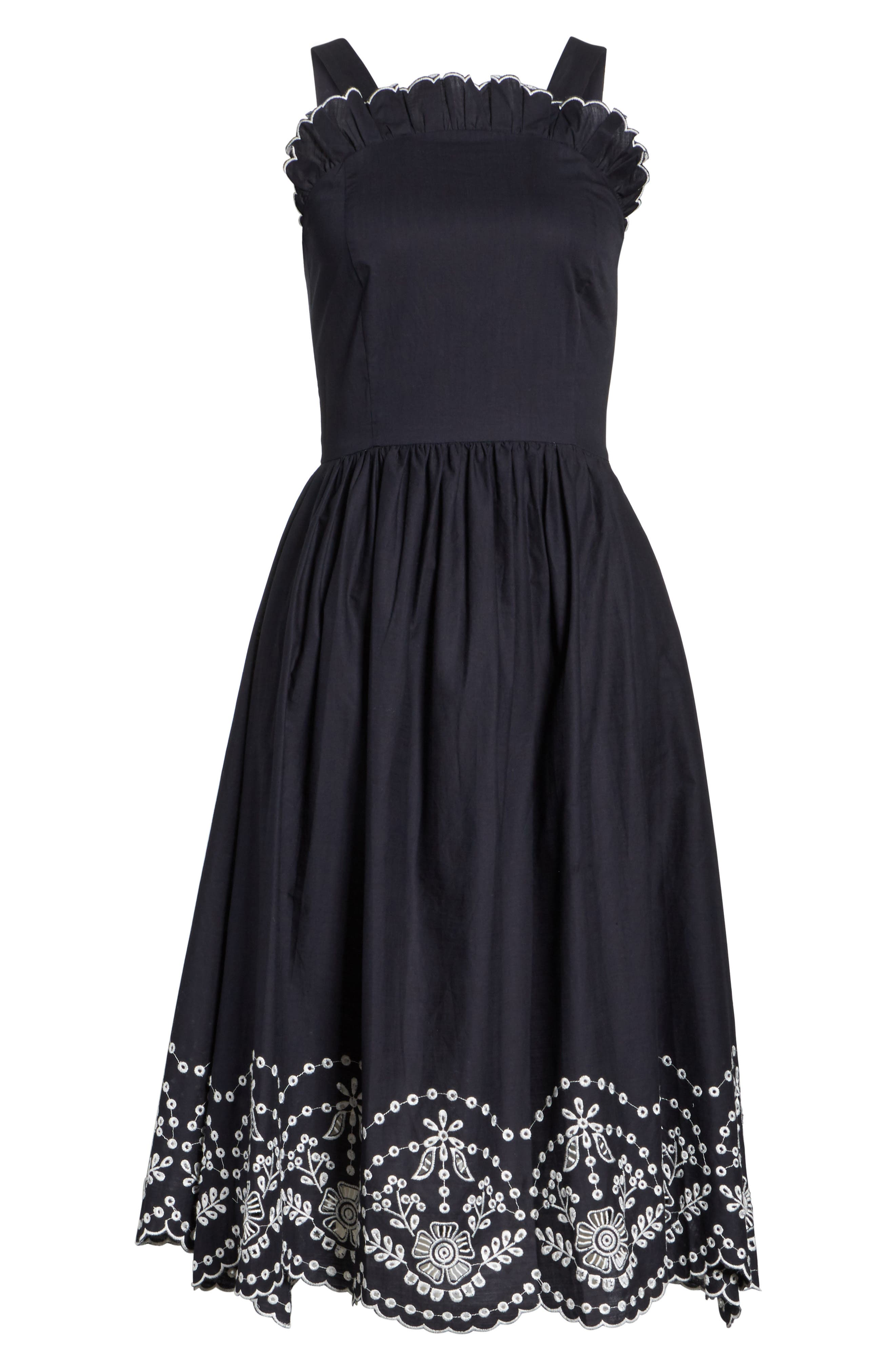 Alouette Eyelet Hem Dress,                             Alternate thumbnail 6, color,                             Navy