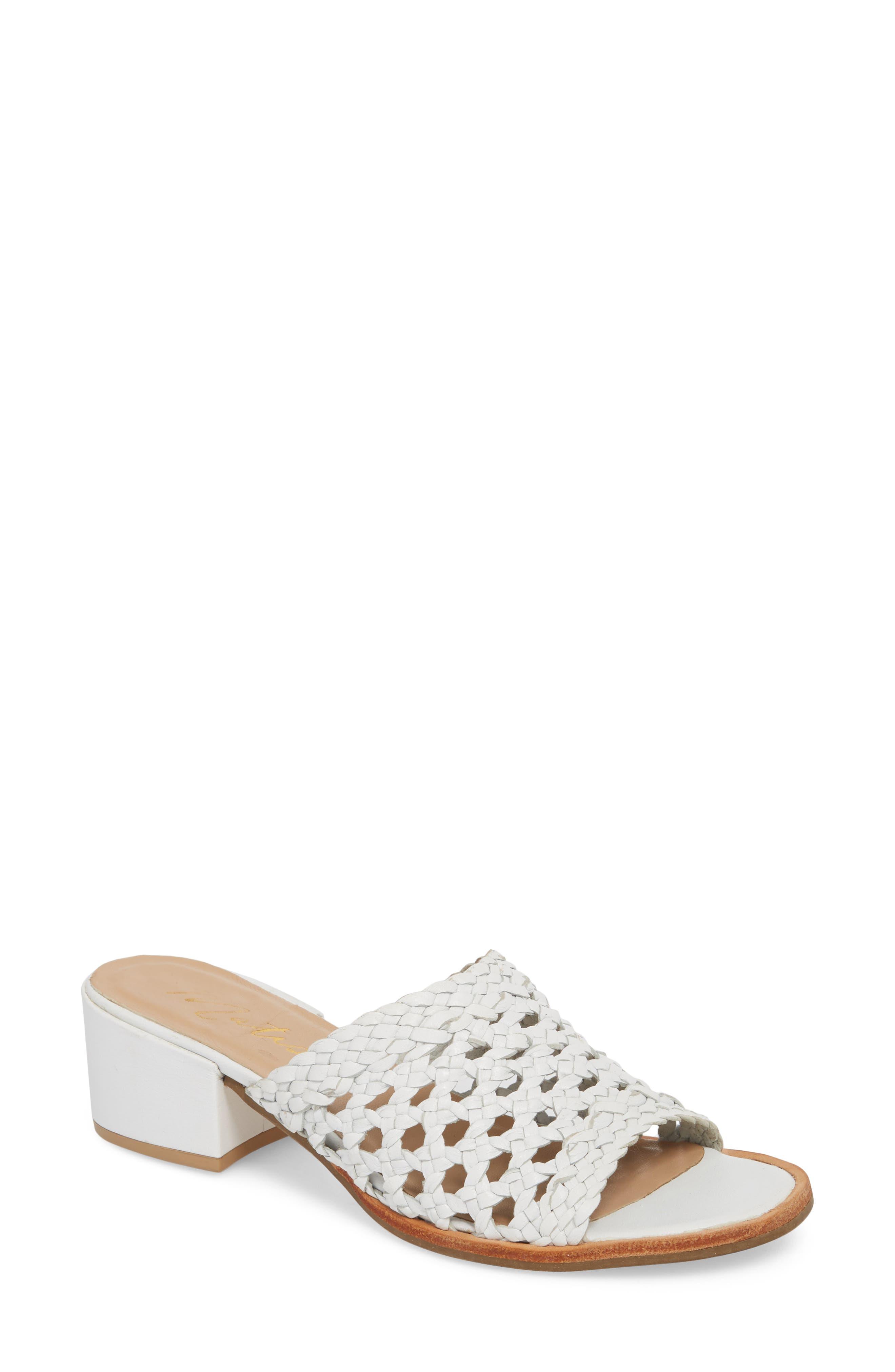 Ditsy Slide Sandal,                         Main,                         color, White Leather
