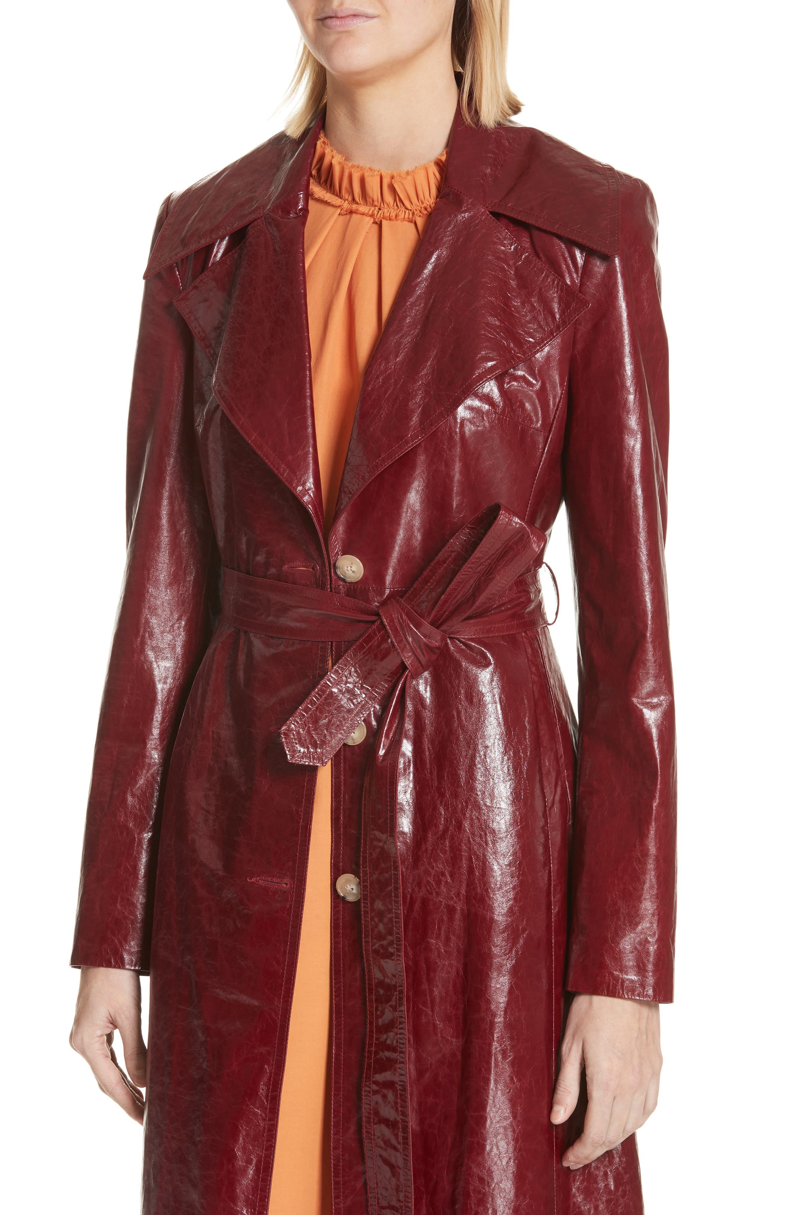 Leather Trench Coat,                             Alternate thumbnail 4, color,                             Bordeaux