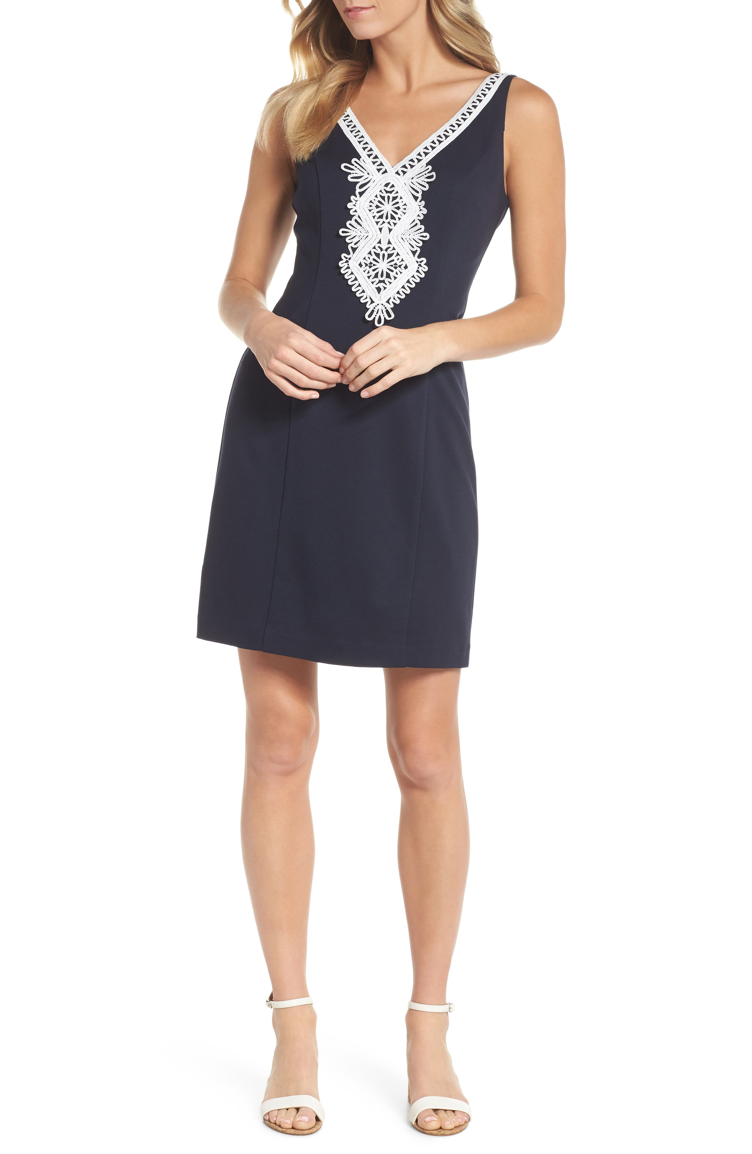Embroidered V-Neck Shift Dress,                             Main thumbnail 1, color,                             Navy/ Ivory