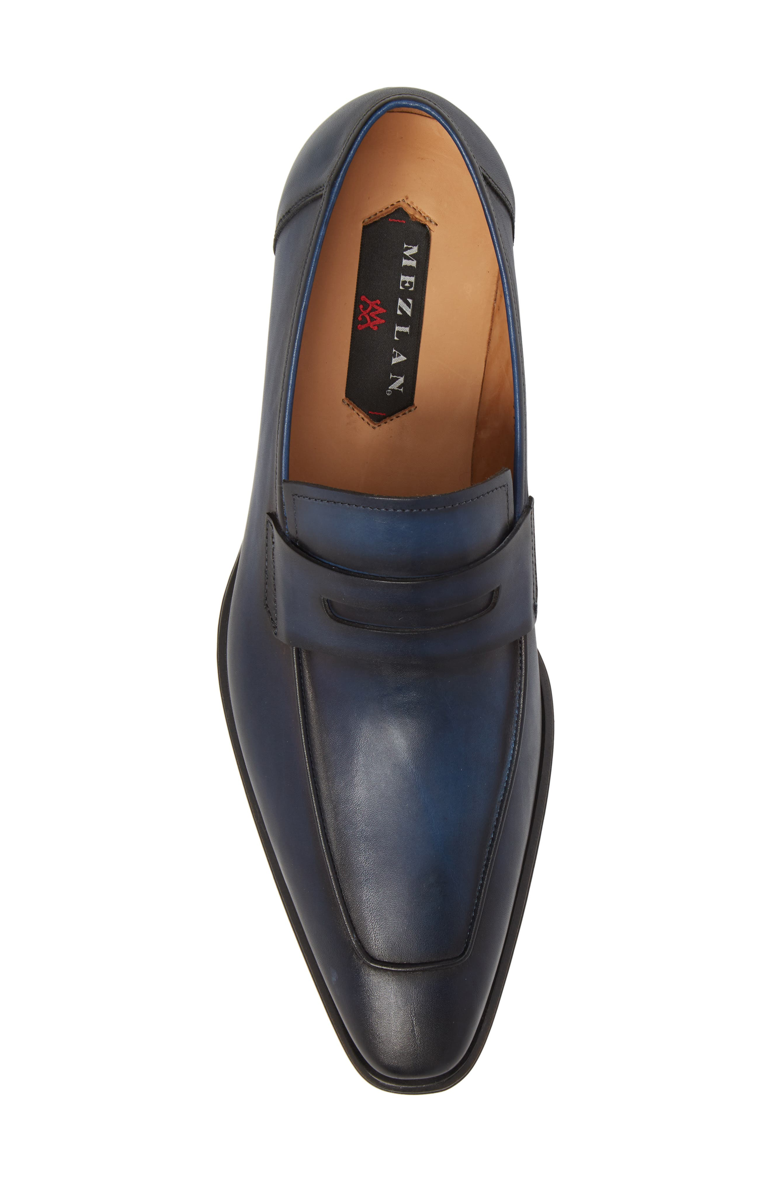 Marcus Penny Loafer,                             Alternate thumbnail 5, color,                             Mid Blue Leather