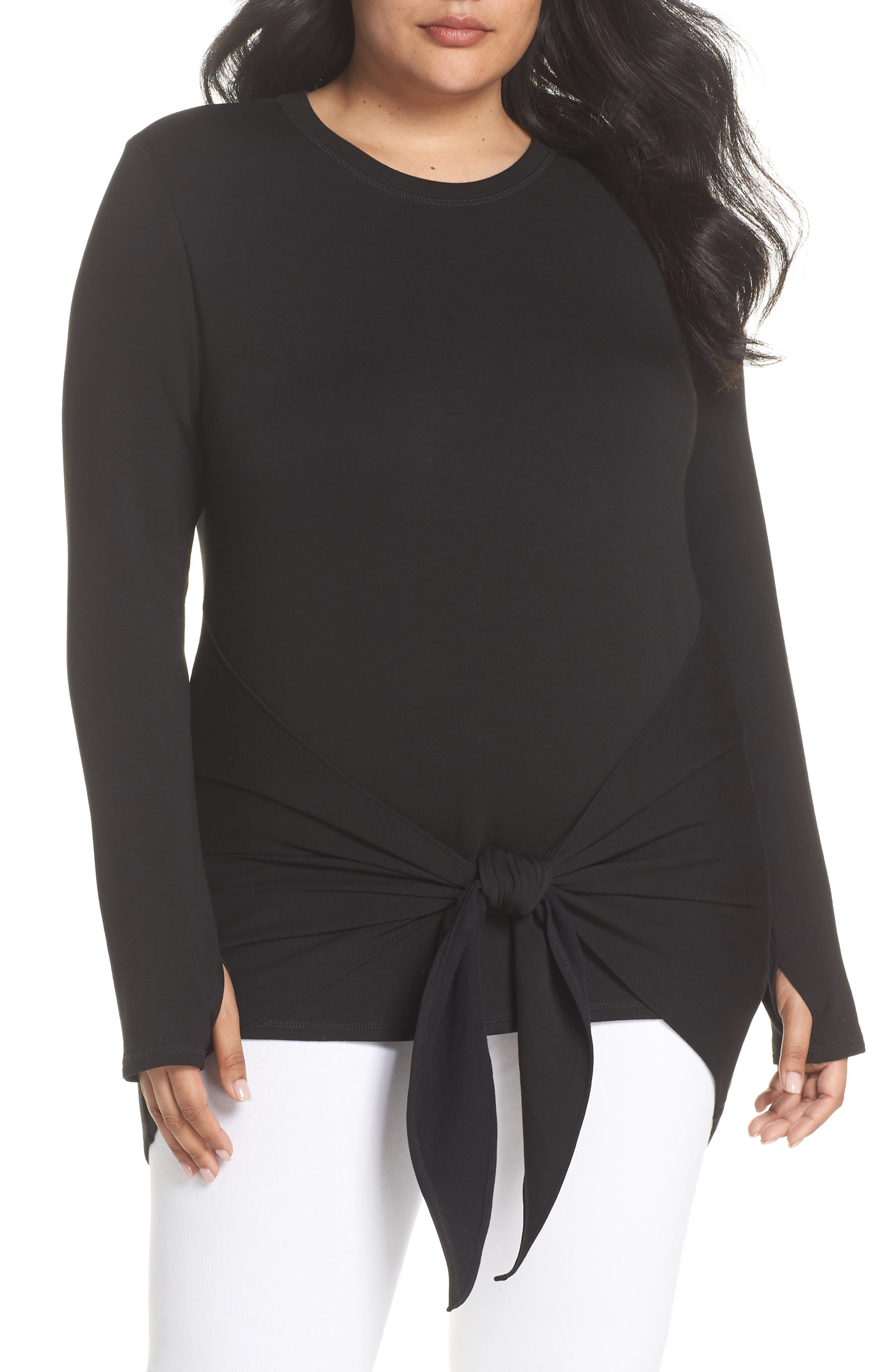 Tie Front Tee,                             Main thumbnail 1, color,                             Black