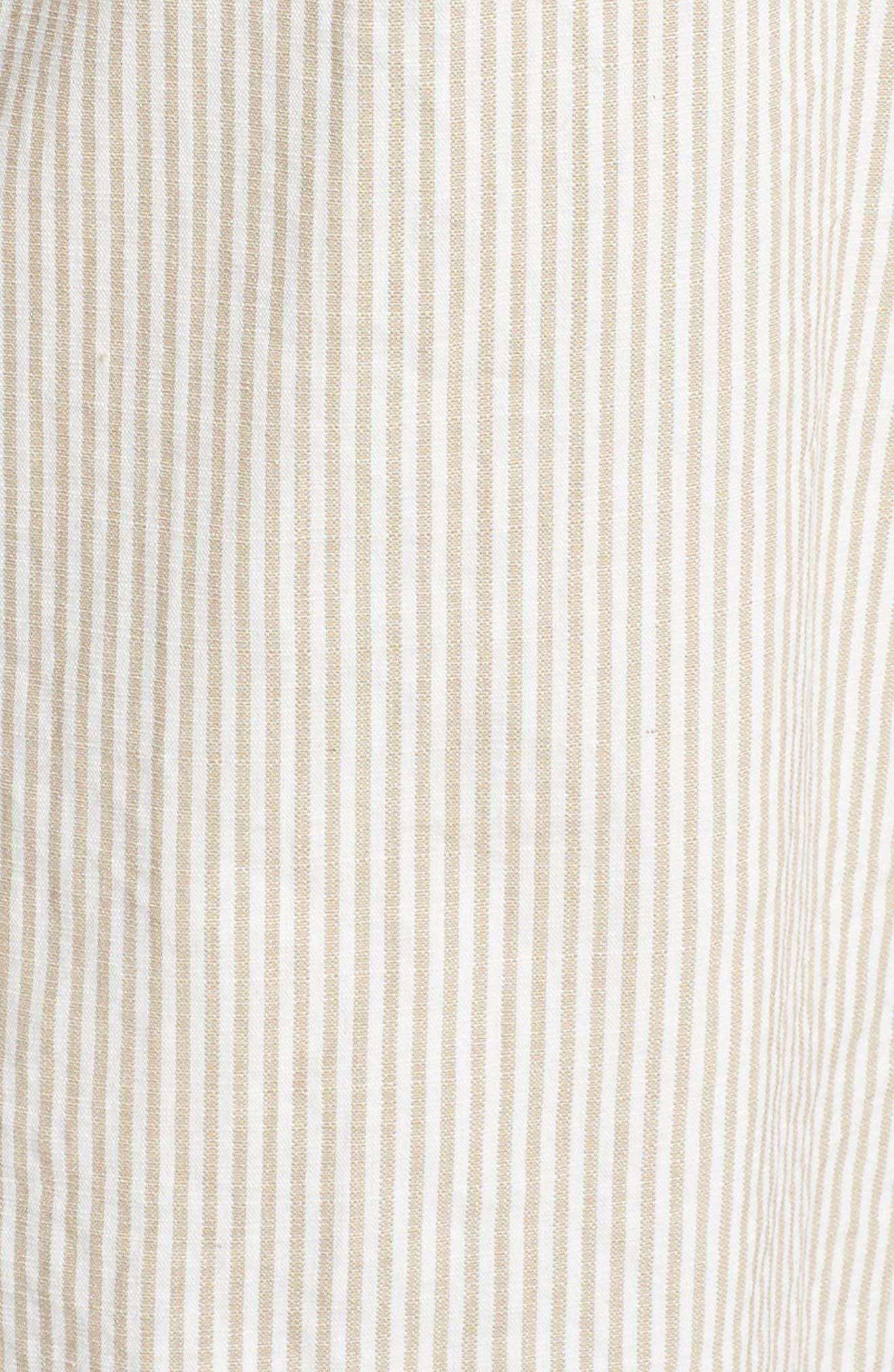 Stripe Ruffle Crop Jumpsuit,                             Alternate thumbnail 6, color,                             White-Oat