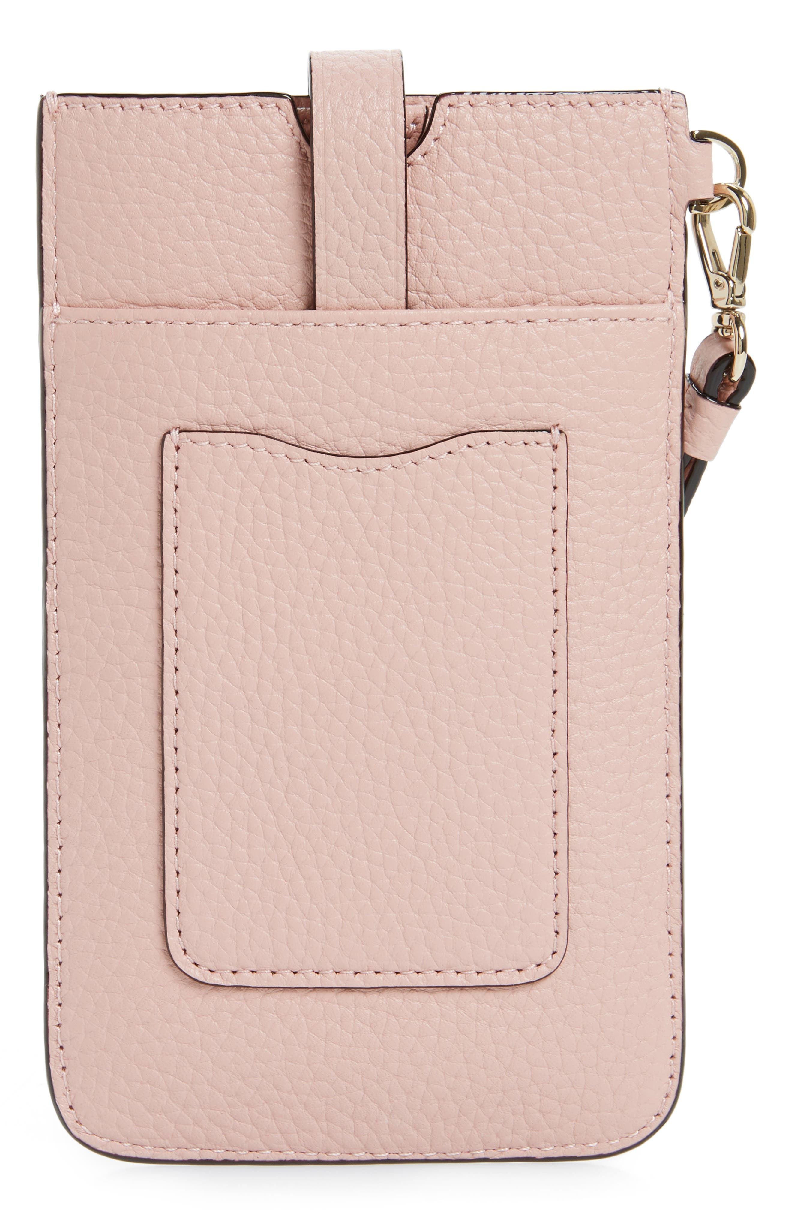 leather smartphone wristlet,                             Alternate thumbnail 2, color,                             Rosy Cheeks
