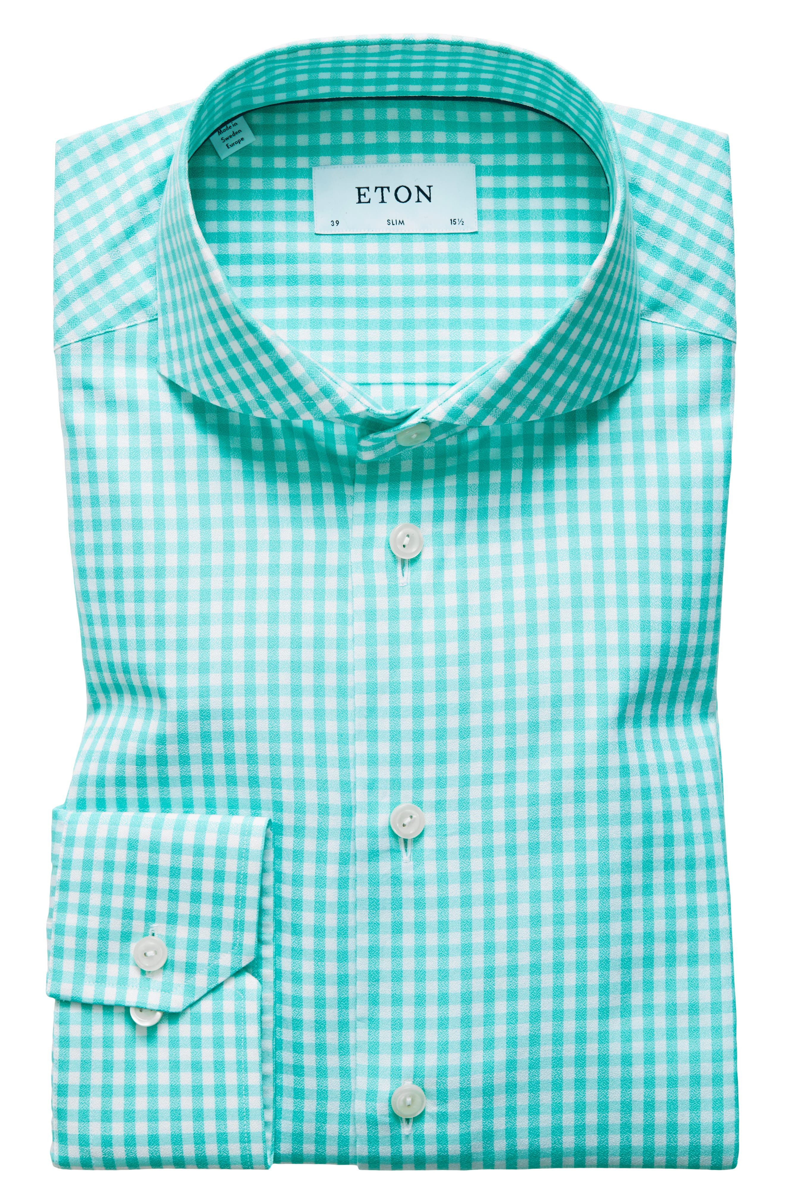Contemporary Fit Check Dress Shirt,                             Alternate thumbnail 7, color,                             Teal