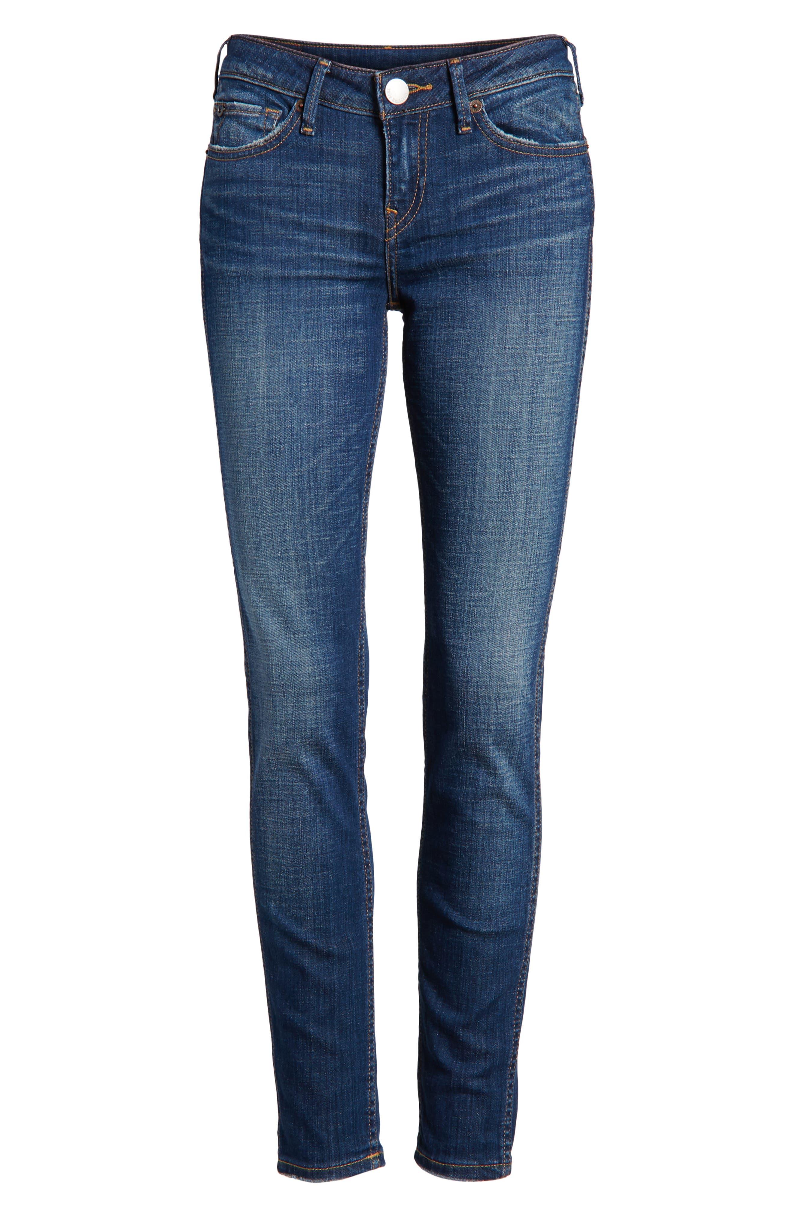 Halle Mid Rise Super Skinny Jeans,                             Alternate thumbnail 7, color,                             Esqm Gen Y