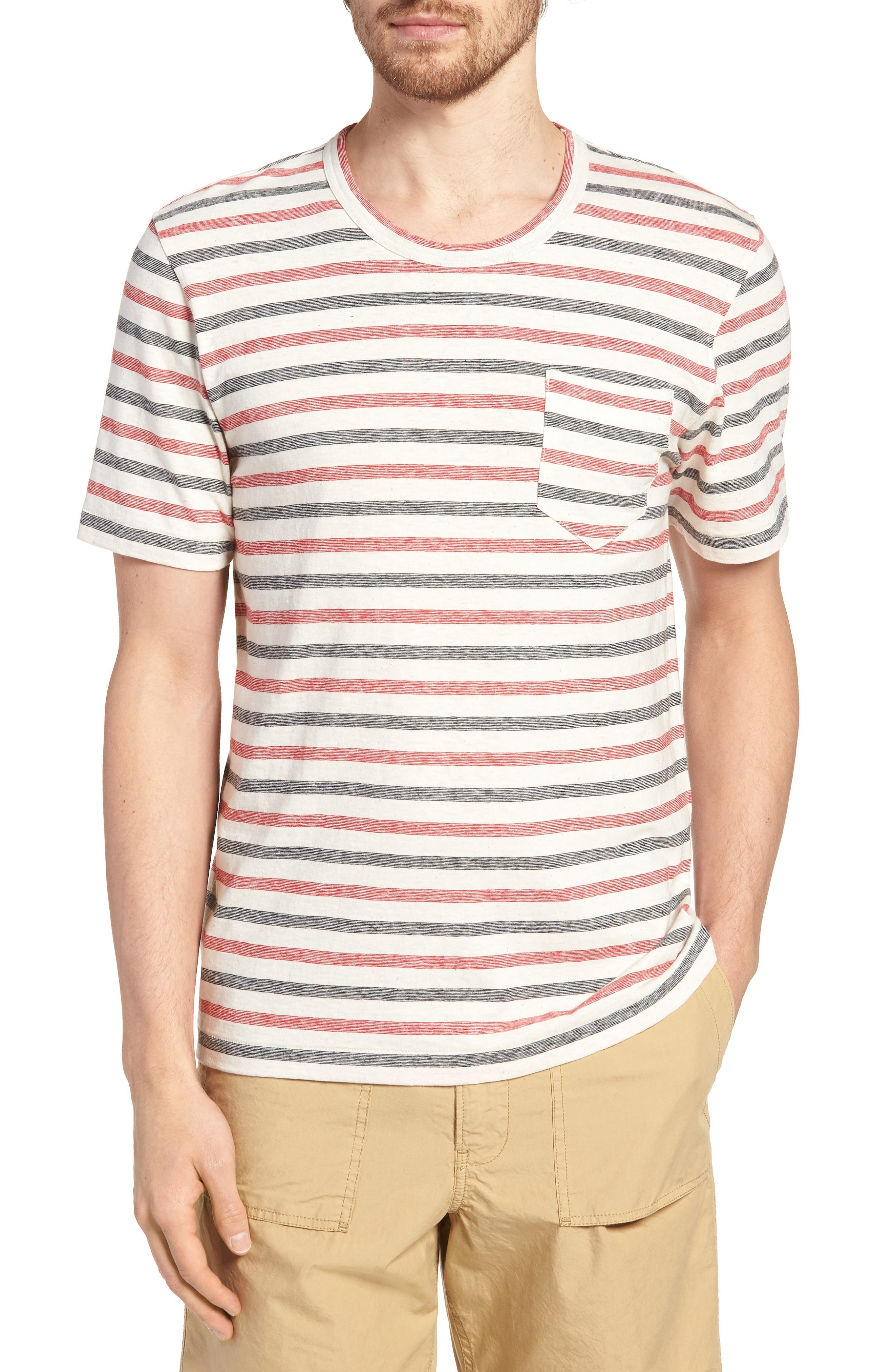Striped T-Shirt,                         Main,                         color, Red