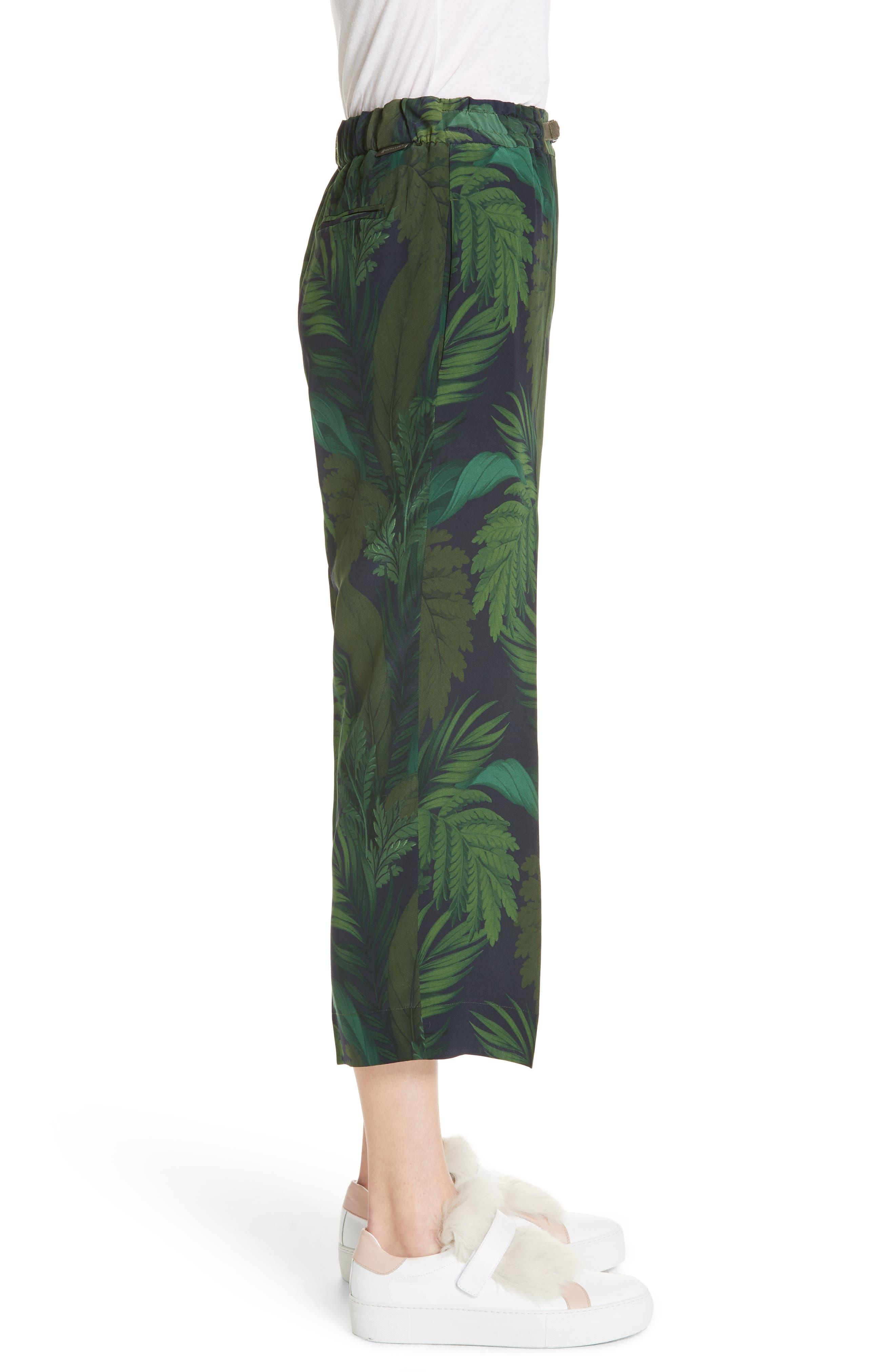 Palm Print Crop Silk Pants,                             Alternate thumbnail 3, color,                             Navy/ Green