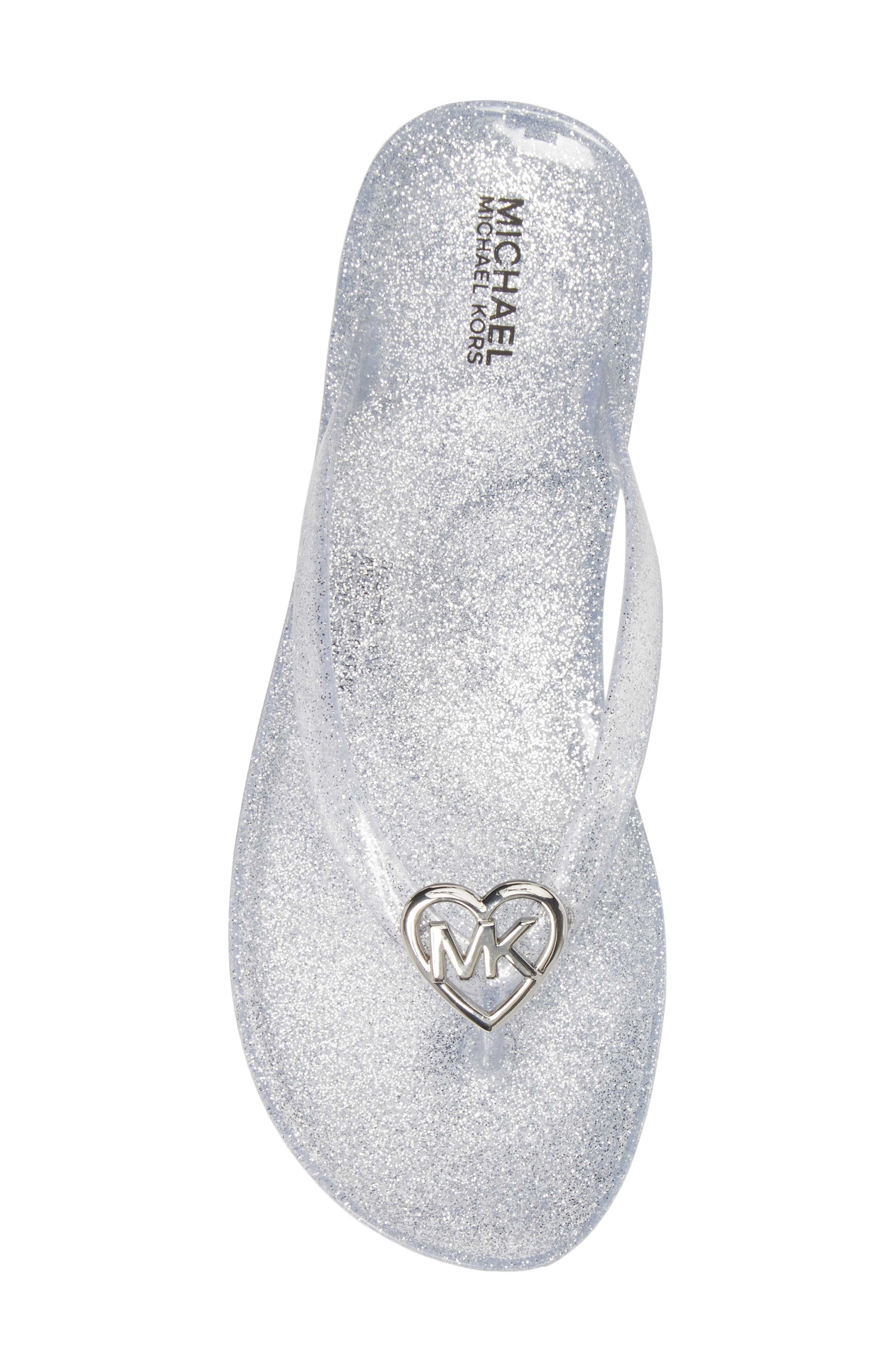Trish Glare Glitter Flip Flop,                             Alternate thumbnail 5, color,                             Silver Glitter