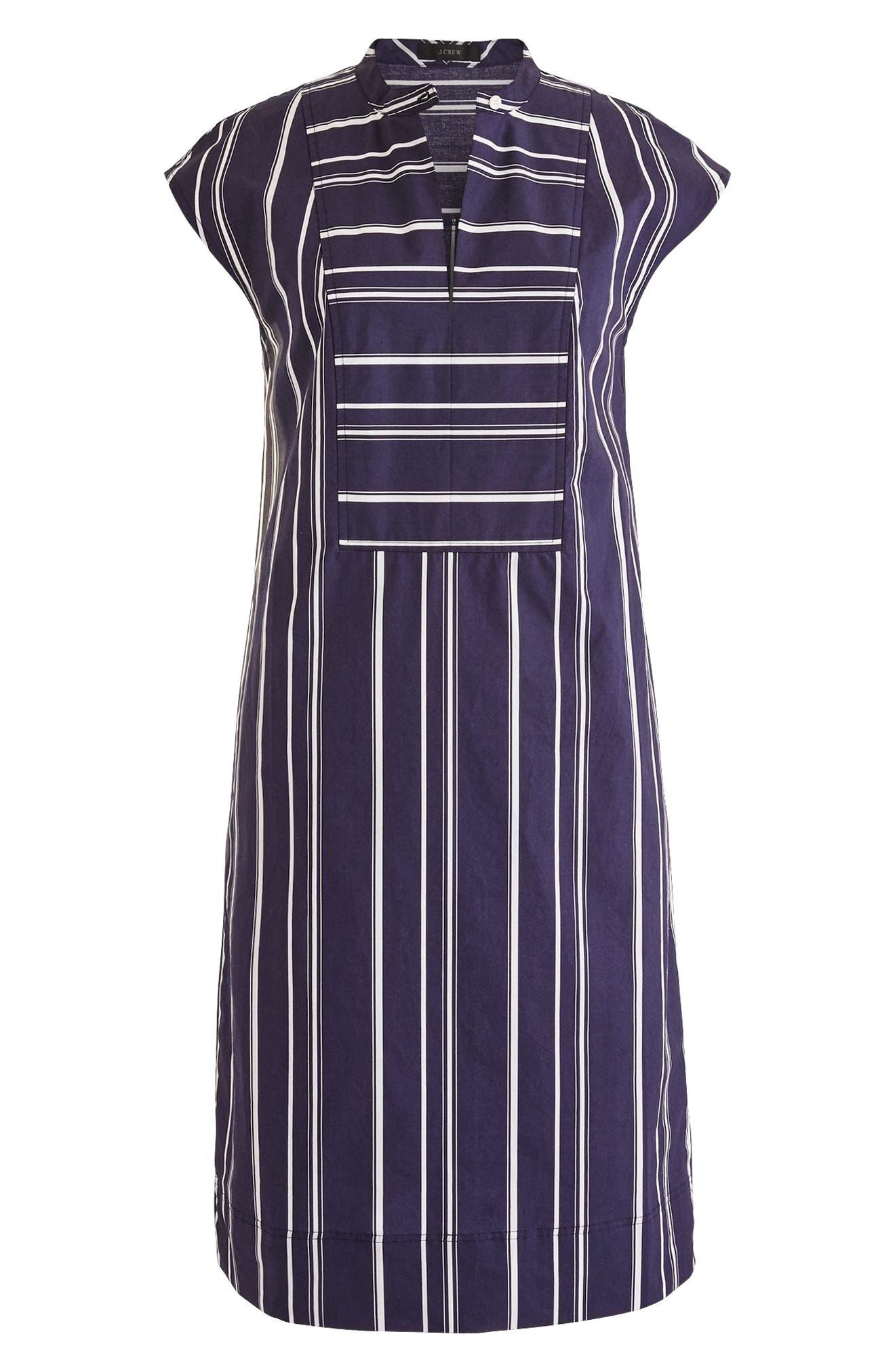 Easy Stripe Poplin Tunic Dress,                             Main thumbnail 1, color,                             Dark Ink