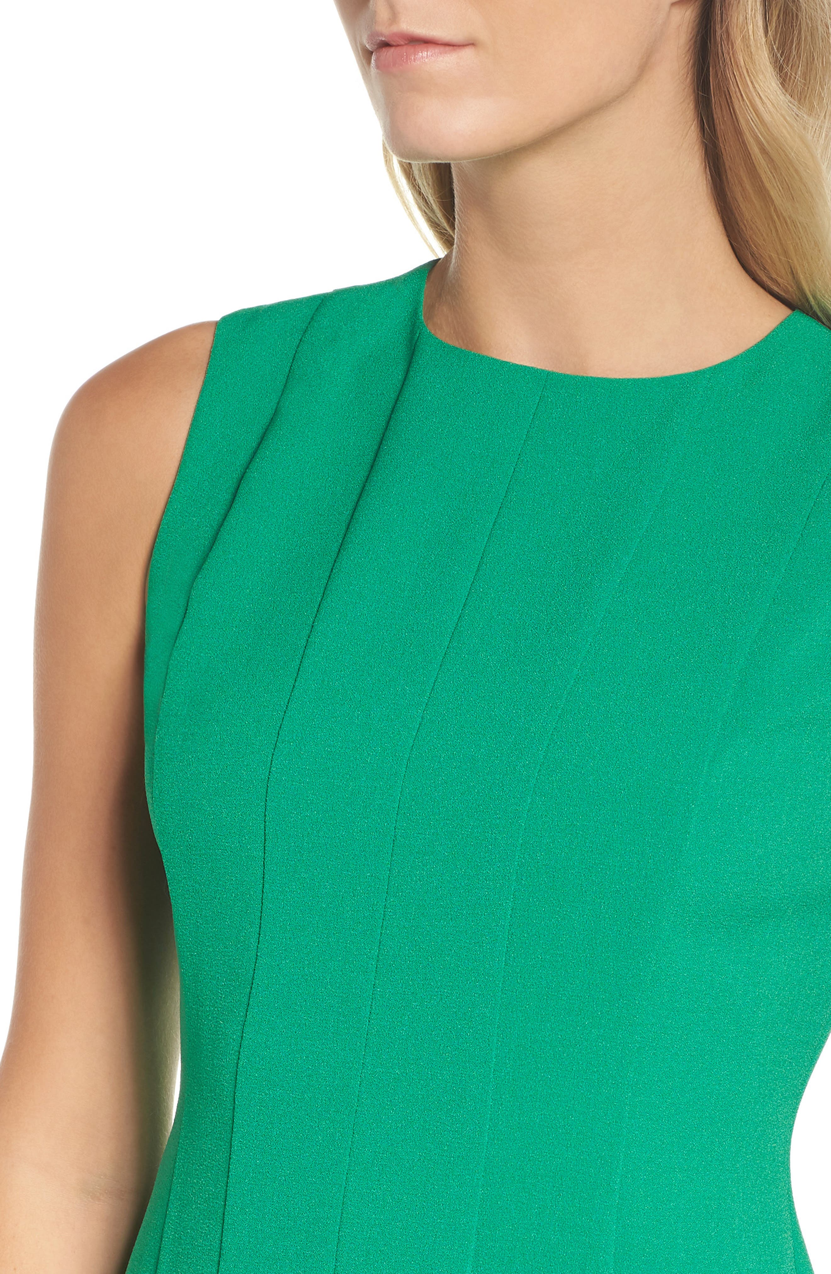 Sleeveless Pleat Panel Fit & Flare Dress,                             Alternate thumbnail 4, color,                             Green