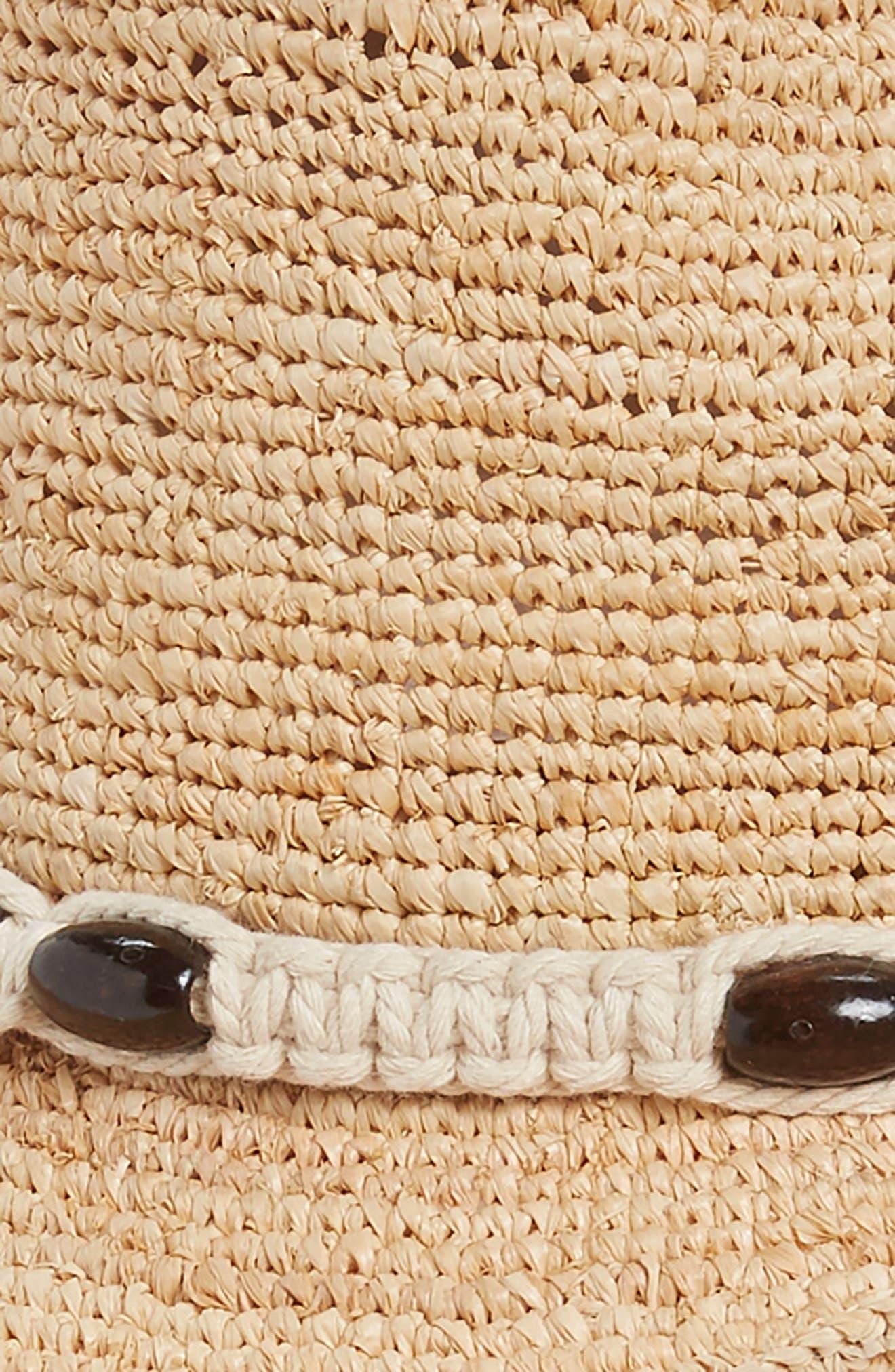 Raffia Cowboy Hat with Macramé Trim,                             Alternate thumbnail 2, color,                             Natural Combo