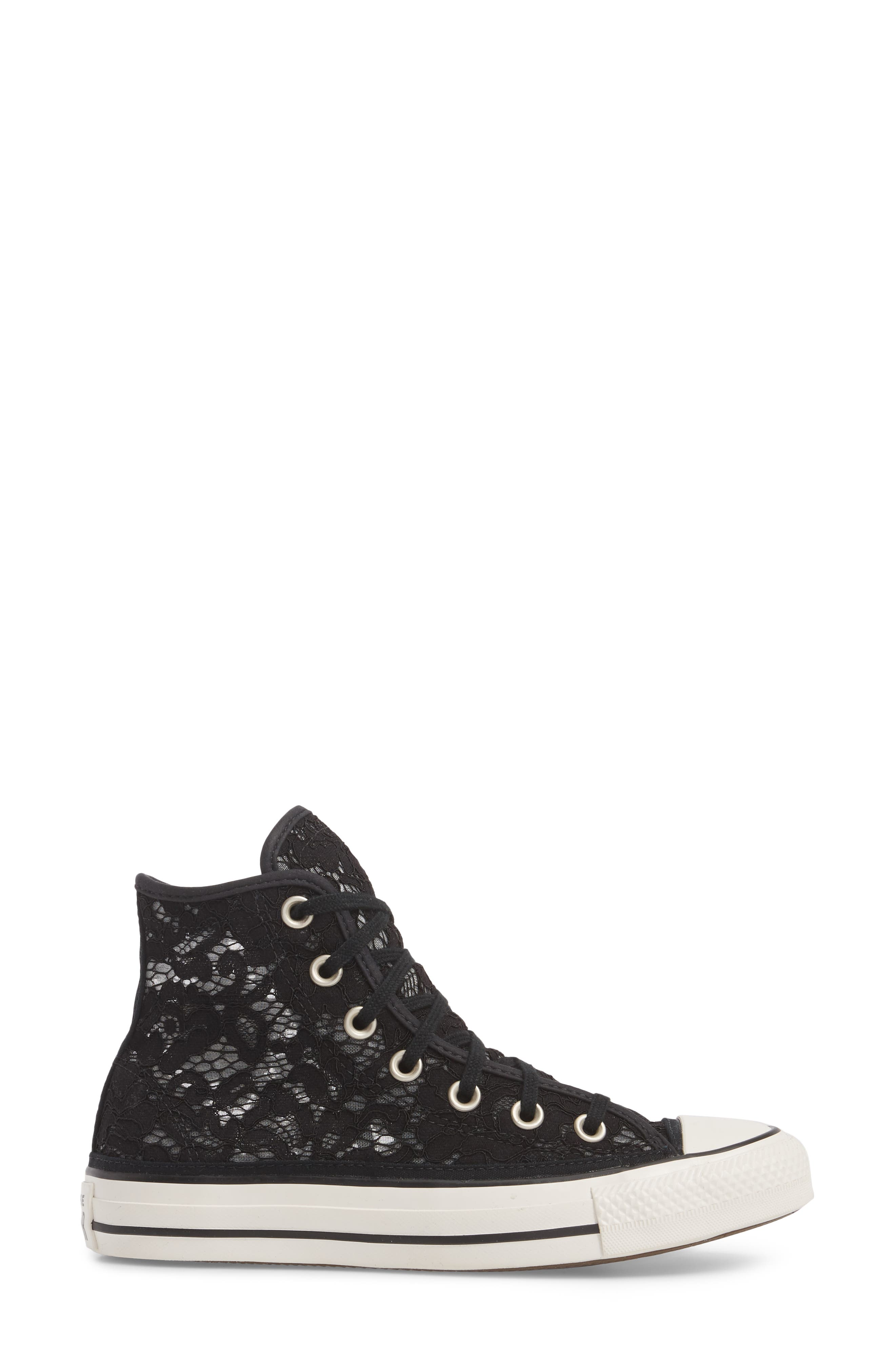 Chuck Taylor<sup>®</sup> All Star Lace High-Top Sneaker,                             Alternate thumbnail 3, color,                             Black/ White