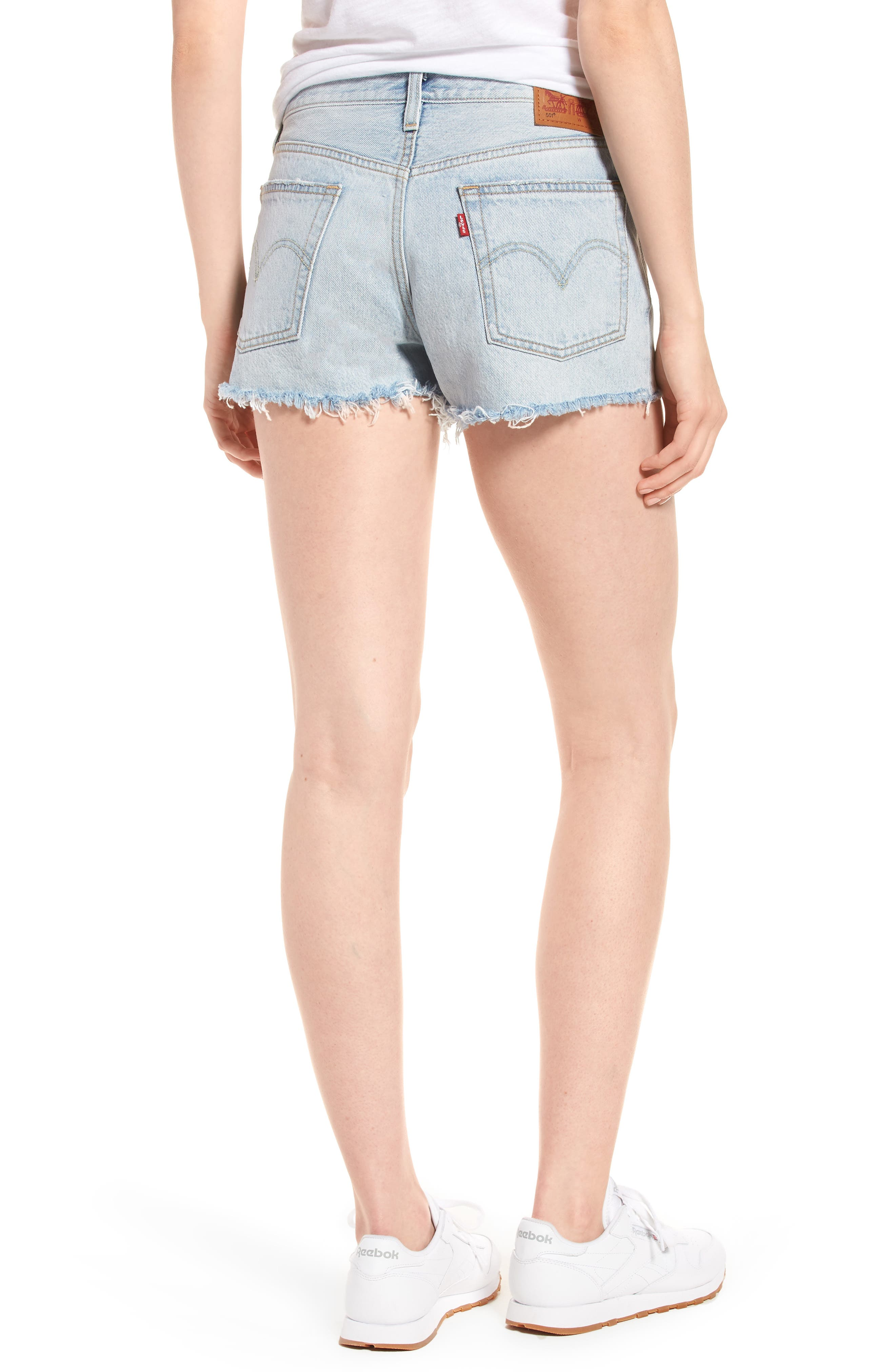 501<sup>®</sup> Cutoff Denim Shorts,                             Alternate thumbnail 2, color,                             Bleached Authentic