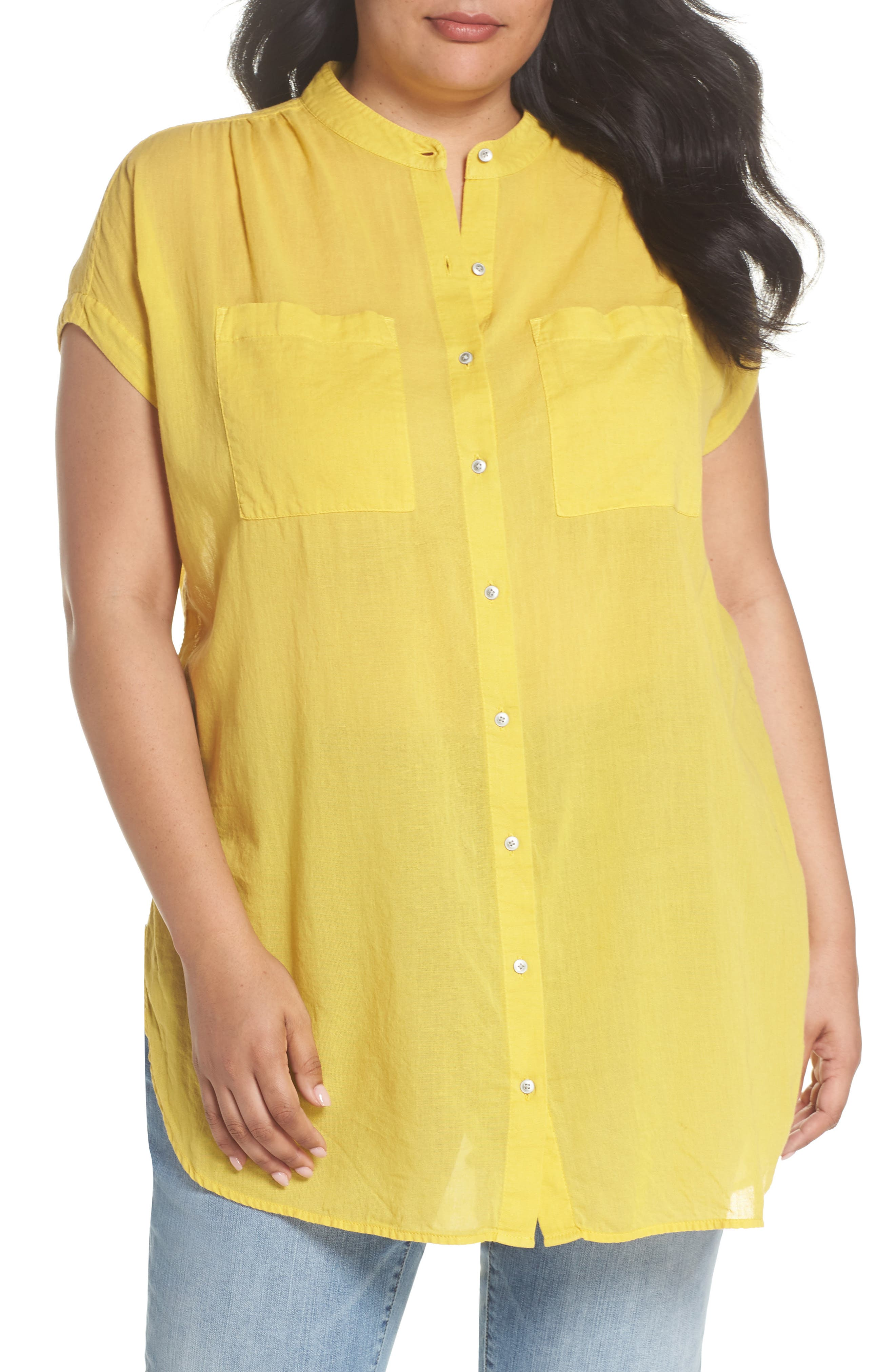 Caslon® Button Front Longline Top (Plus Size)