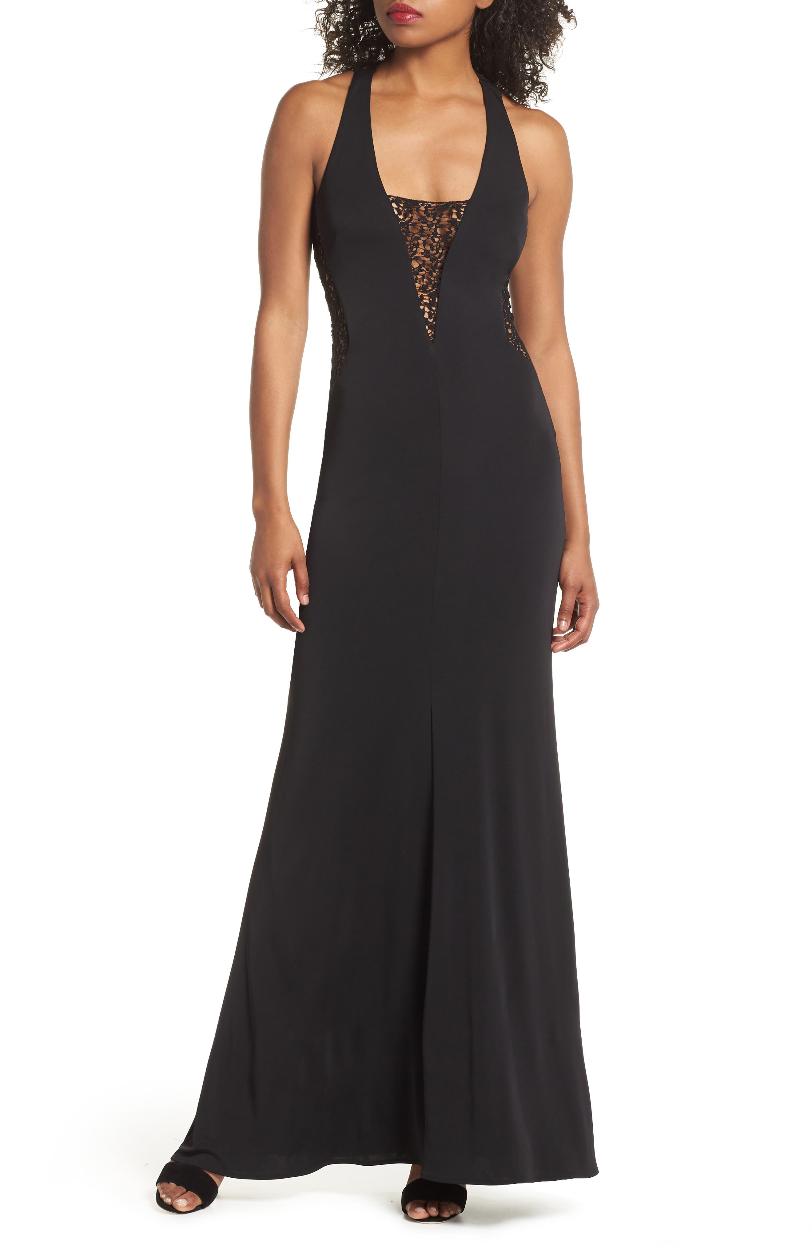 Riley Lace Inset Gown,                         Main,                         color, Black