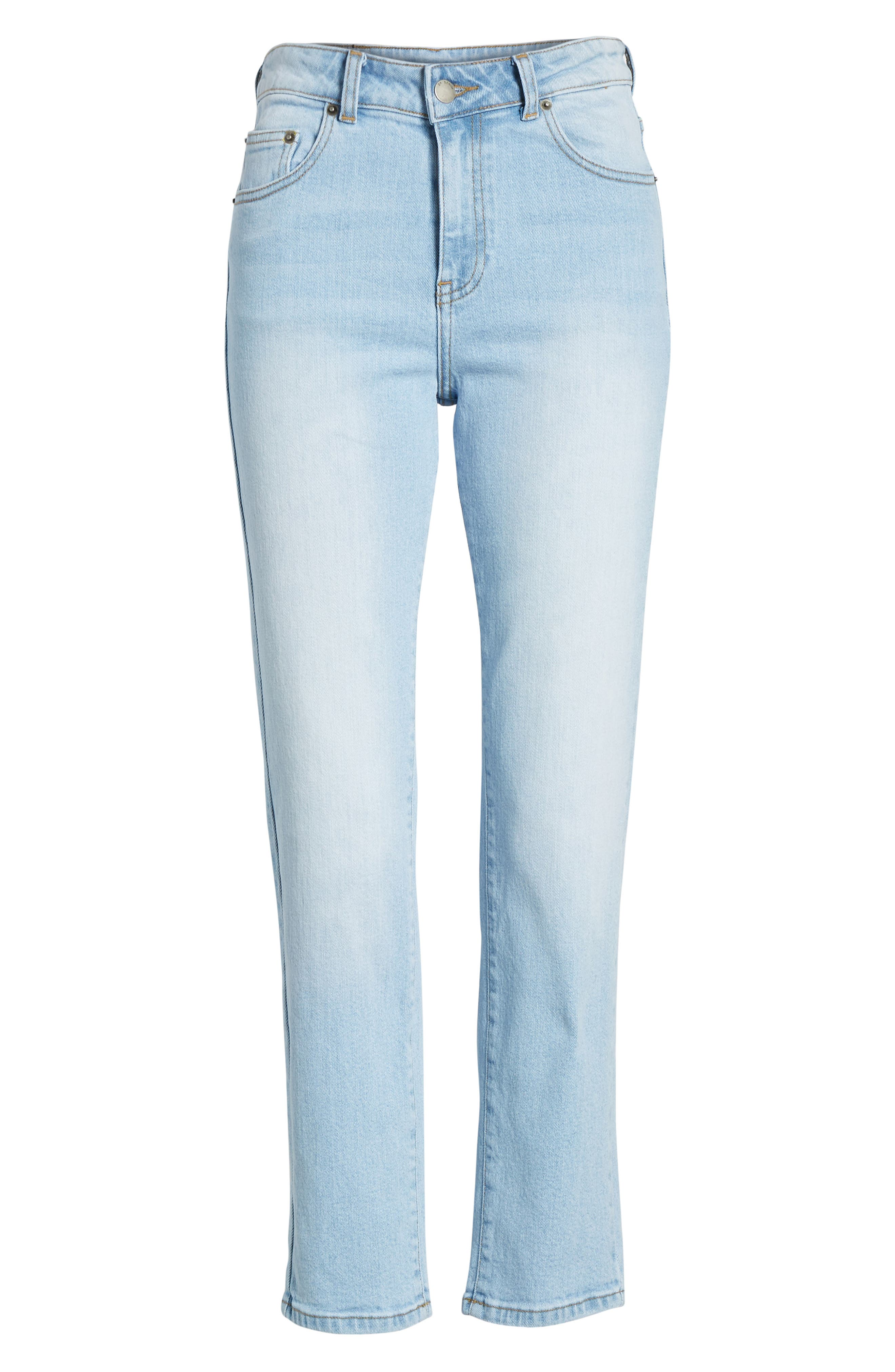 Edie High Waist Crop Straight Leg Jeans,                             Alternate thumbnail 7, color,                             Shaded Light Blue