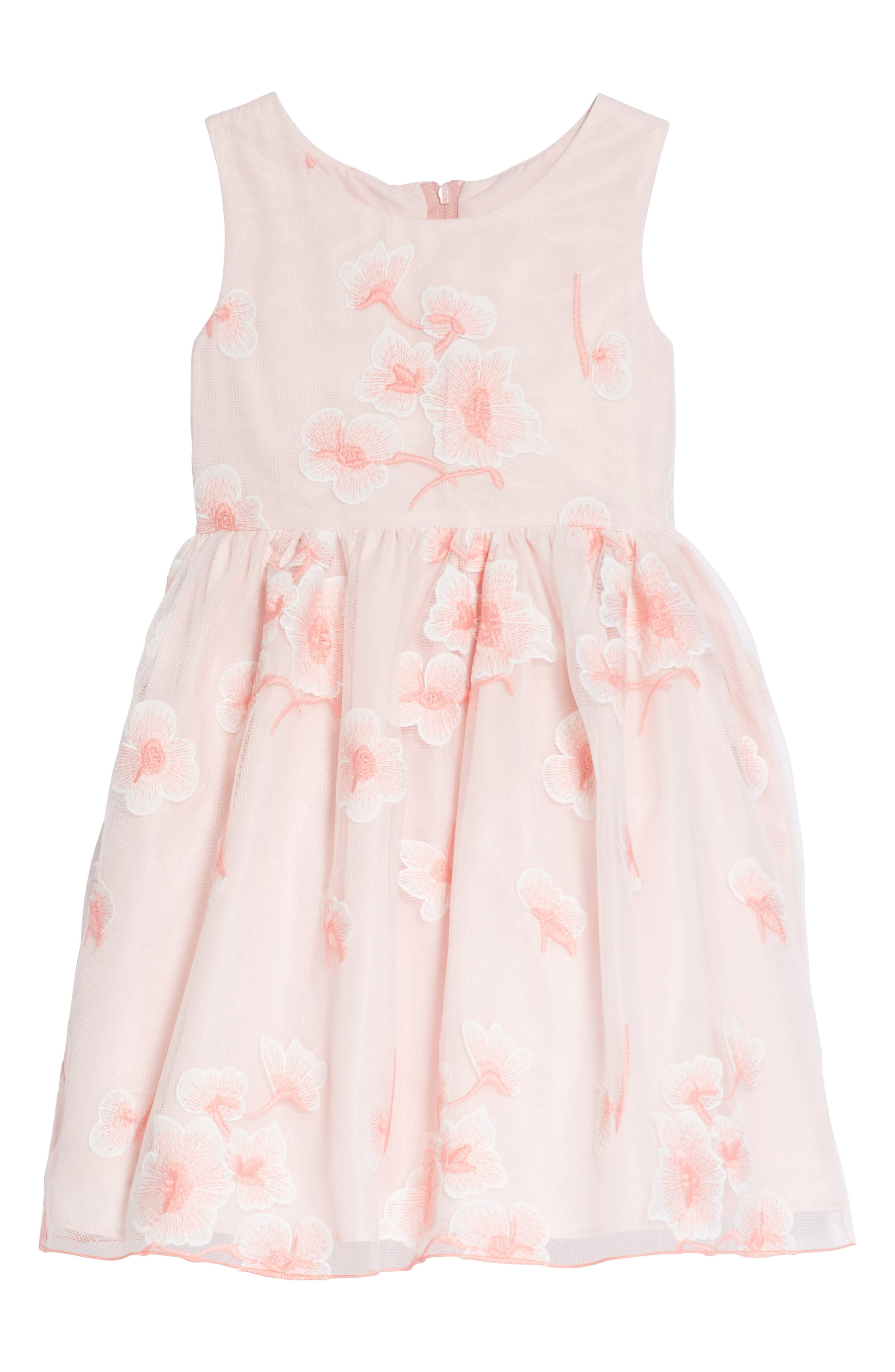 Floral Embroidered Dress,                         Main,                         color, Pink