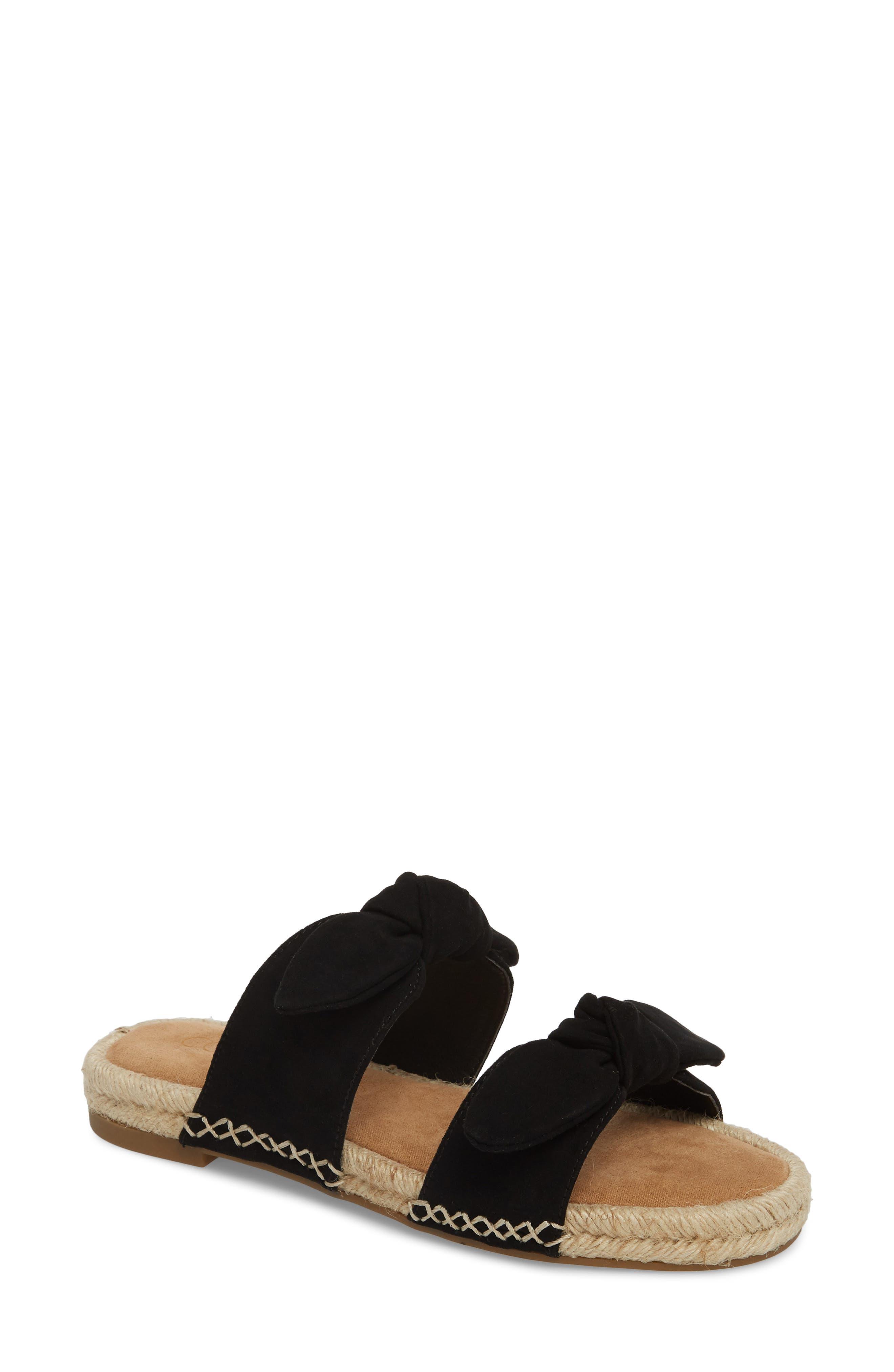 Gianna Espadrille Slide Sandal,                             Main thumbnail 1, color,                             Black Suede
