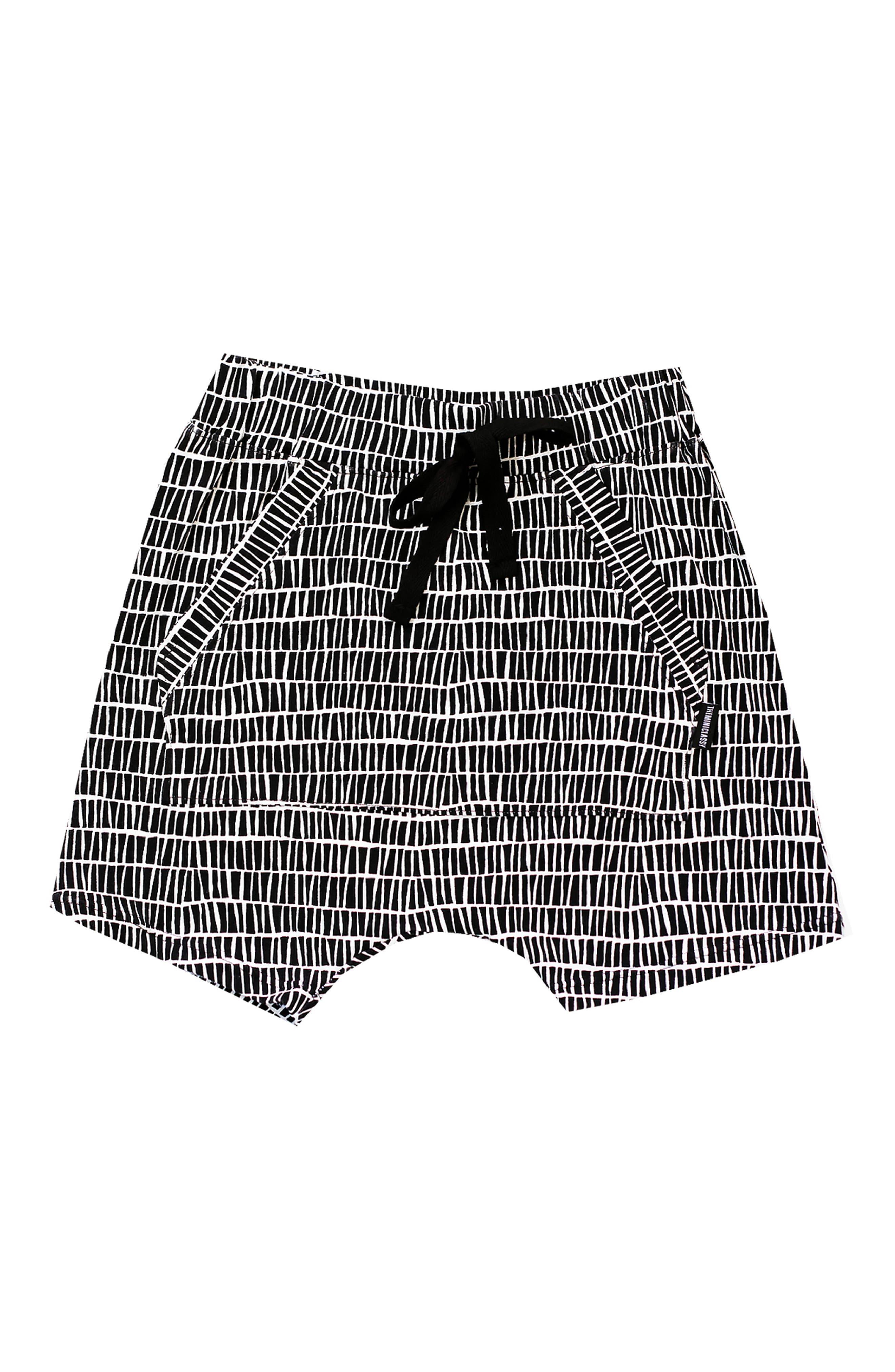 The Stix Shaolin Harem Shorts,                         Main,                         color, Black/ White