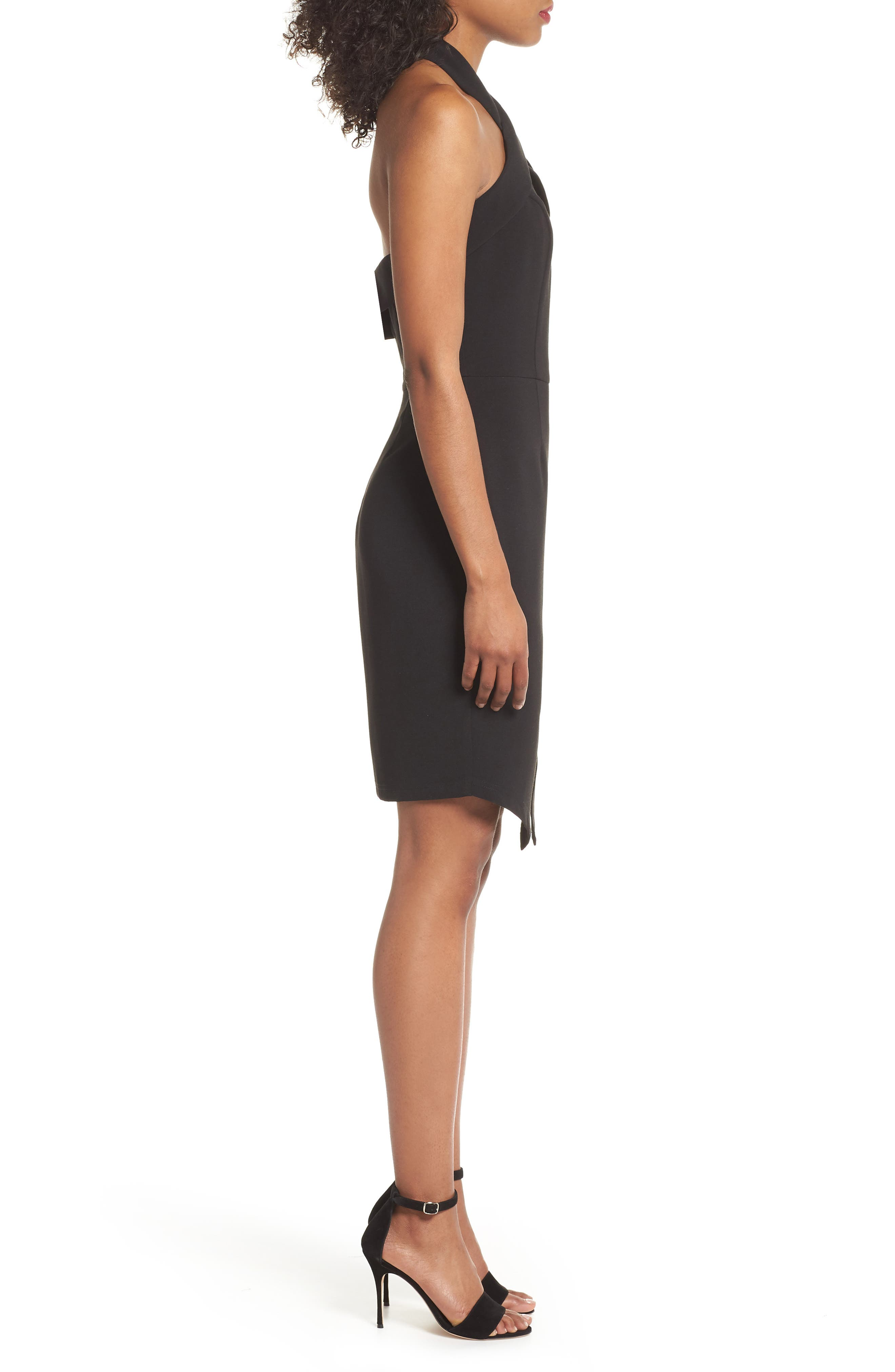 Halter Asymmetrical Sheath Dress,                             Alternate thumbnail 3, color,                             Black