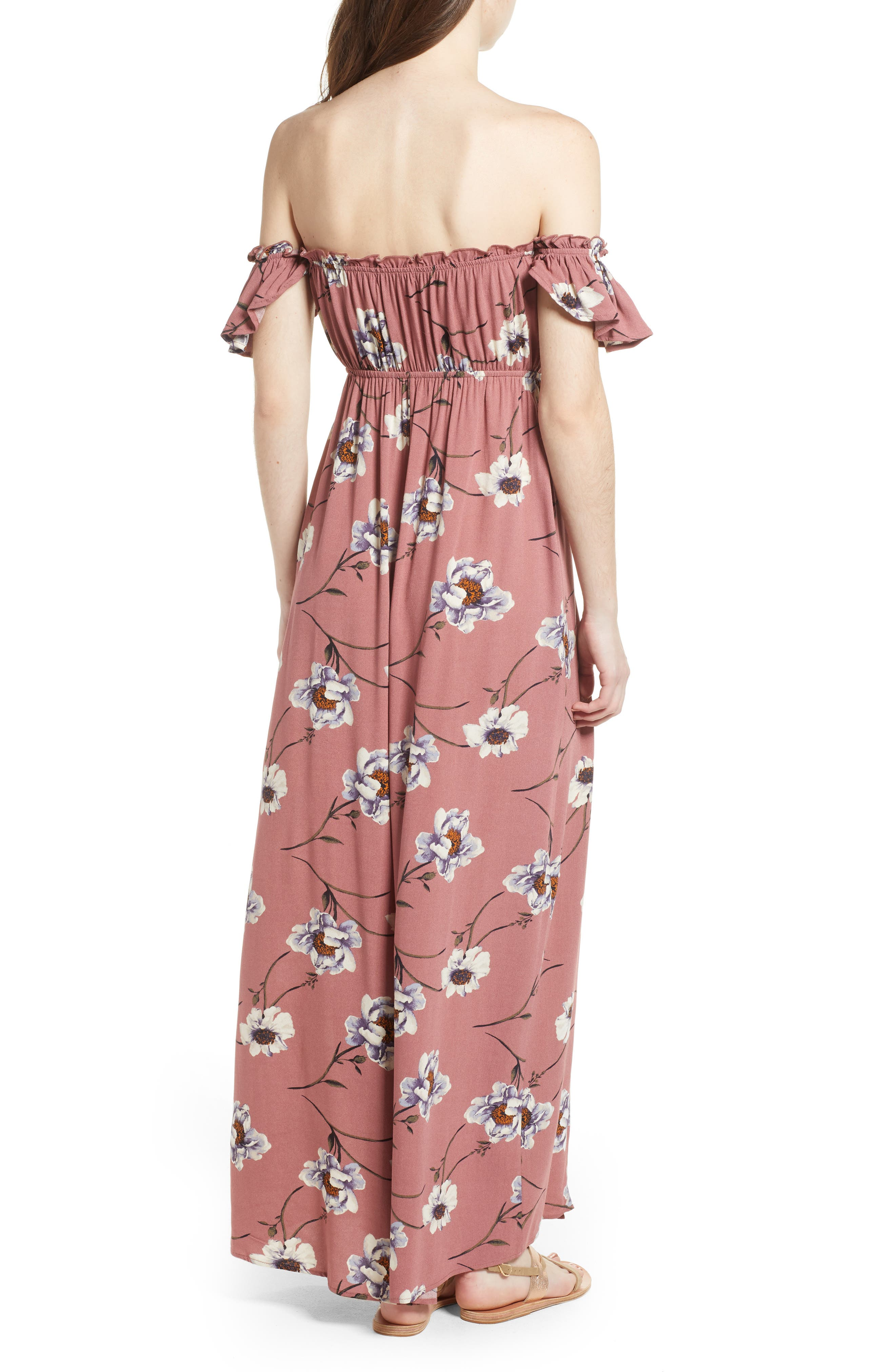 Off the Shoulder Maxi Dress,                             Alternate thumbnail 2, color,                             Mauve Floral