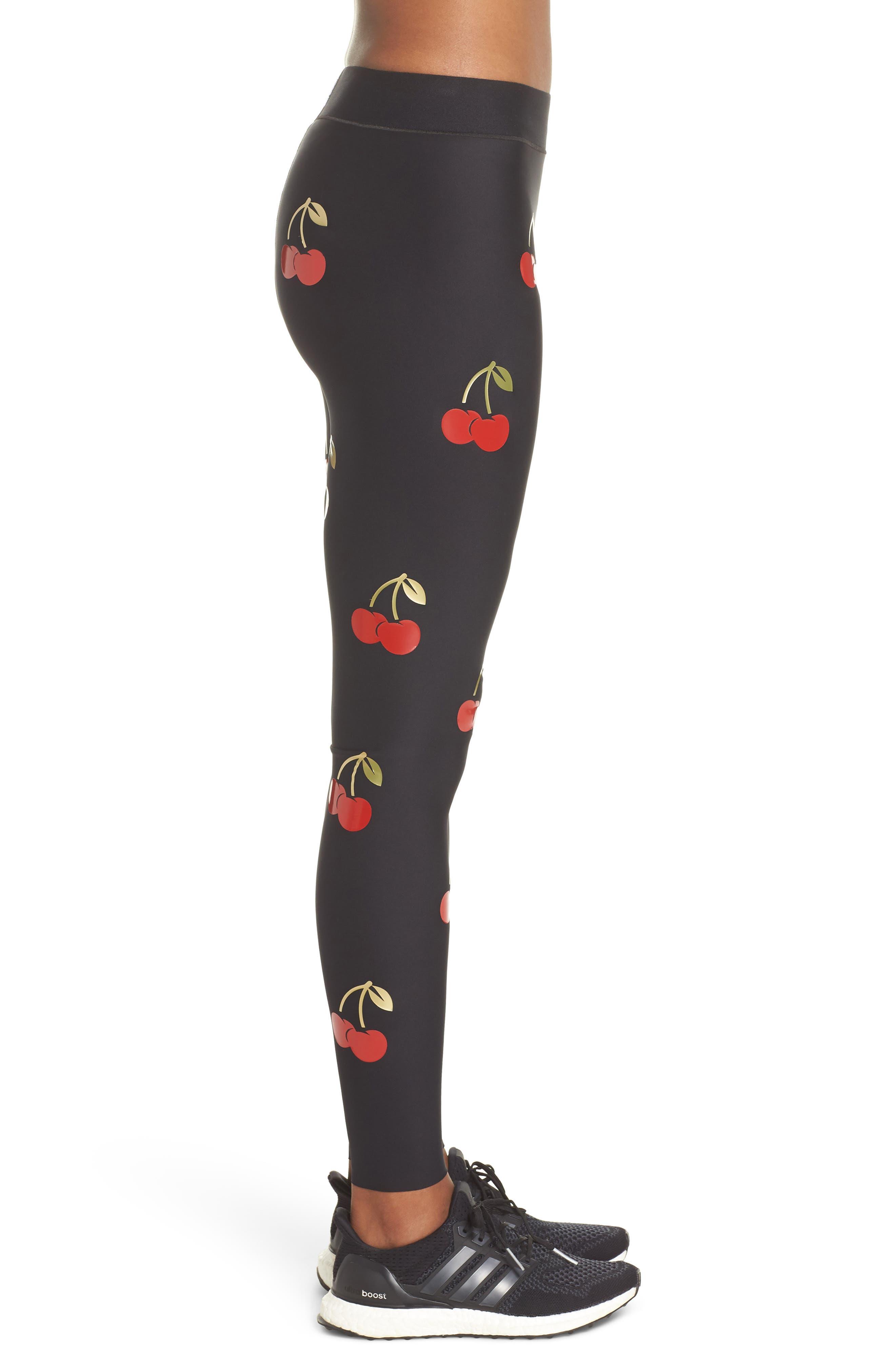 Ultra Cherry Pop Leggings,                             Alternate thumbnail 3, color,                             Nero/ Patent Rouge
