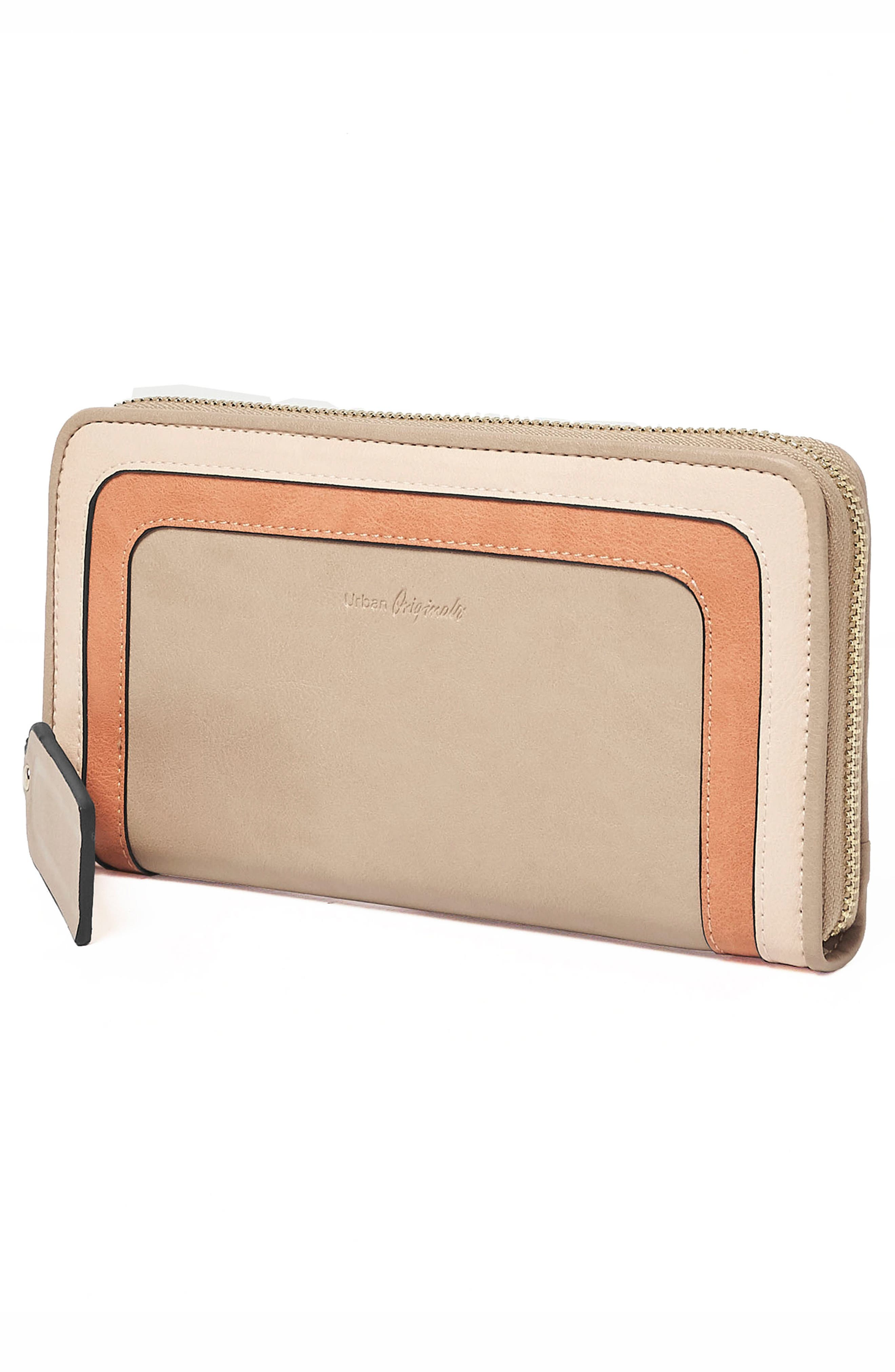 Drama Queen Faux Leather Zip Wallet,                             Alternate thumbnail 3, color,                             Taupe