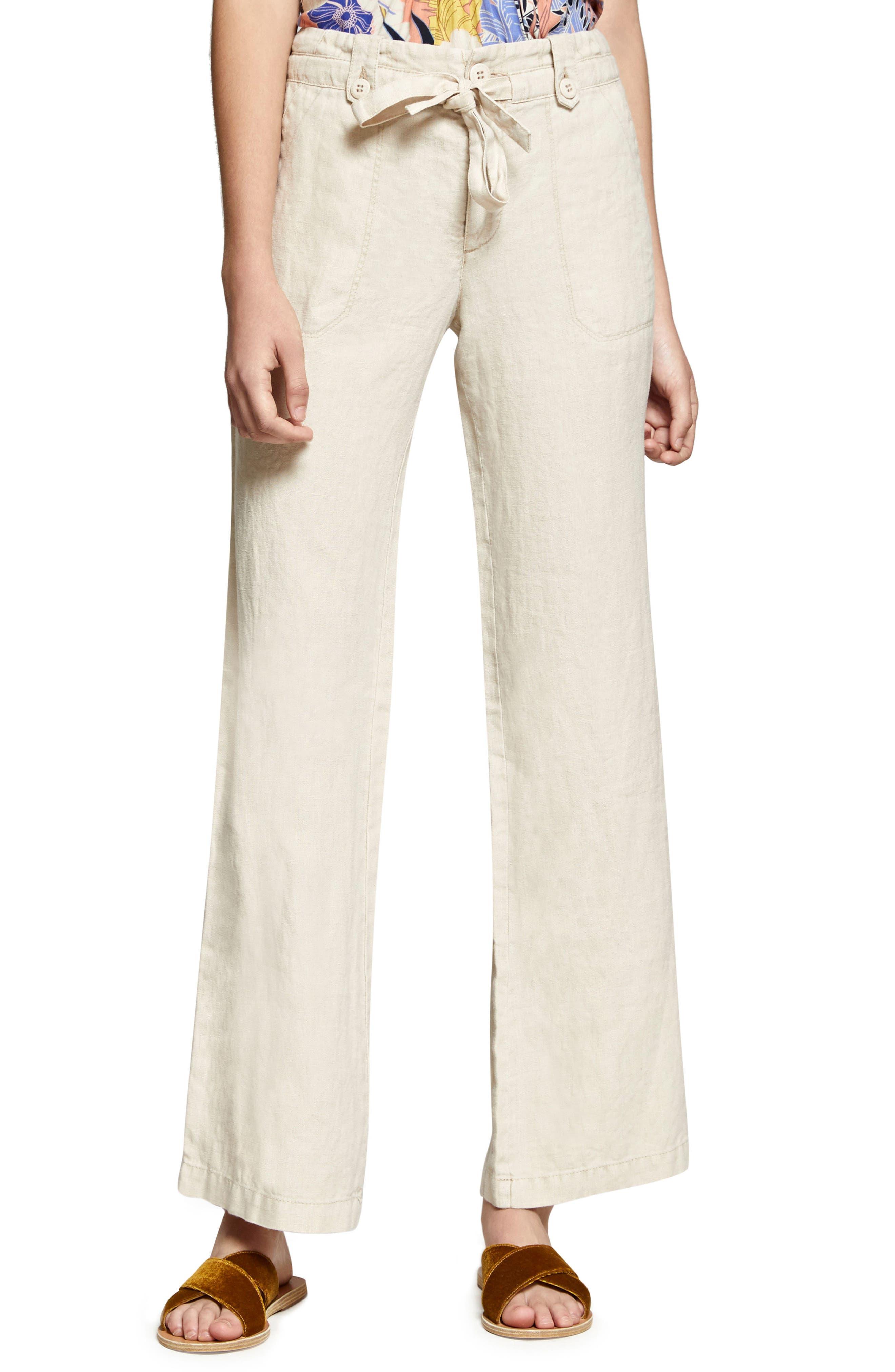 Shore Line Wide Leg Linen Pants,                             Main thumbnail 1, color,                             Desert Sand