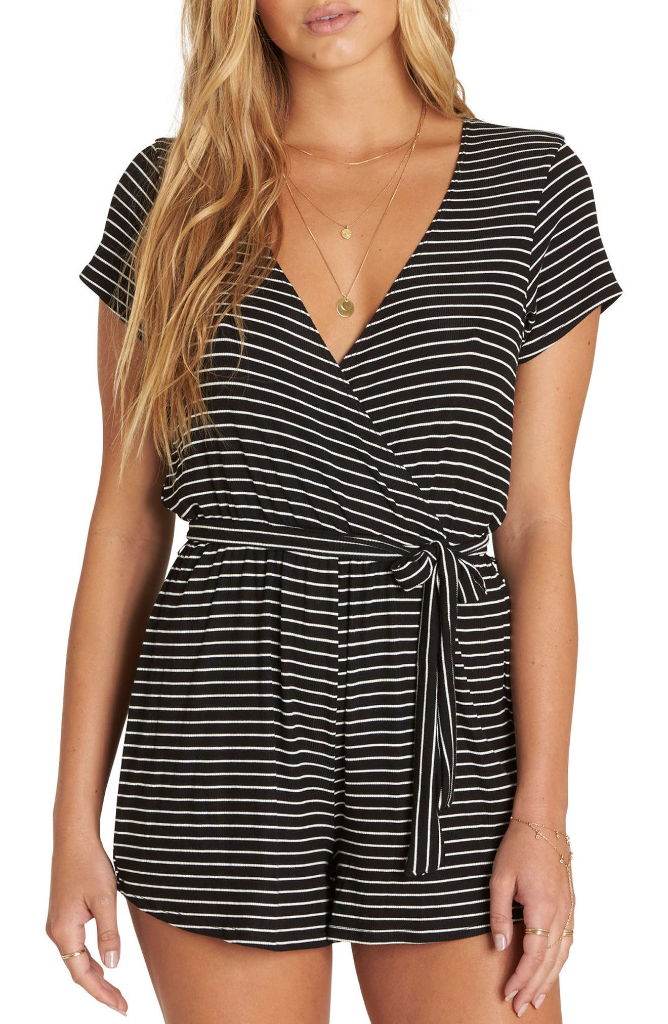 Romp Stop Stripe Surplice Romper,                             Main thumbnail 1, color,                             Black