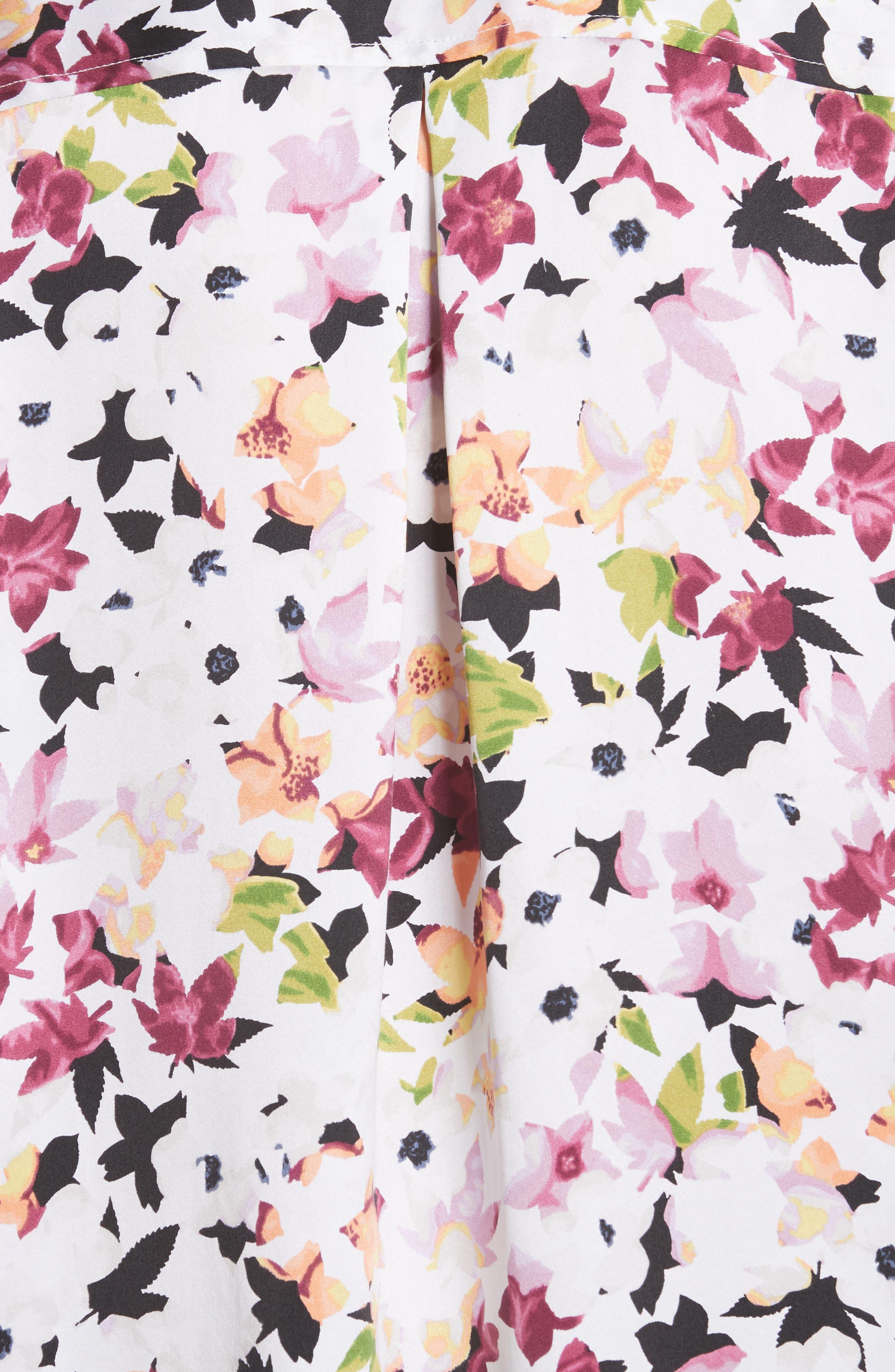 Essential Floral Silk Shirt,                             Alternate thumbnail 5, color,                             Bright White Multi