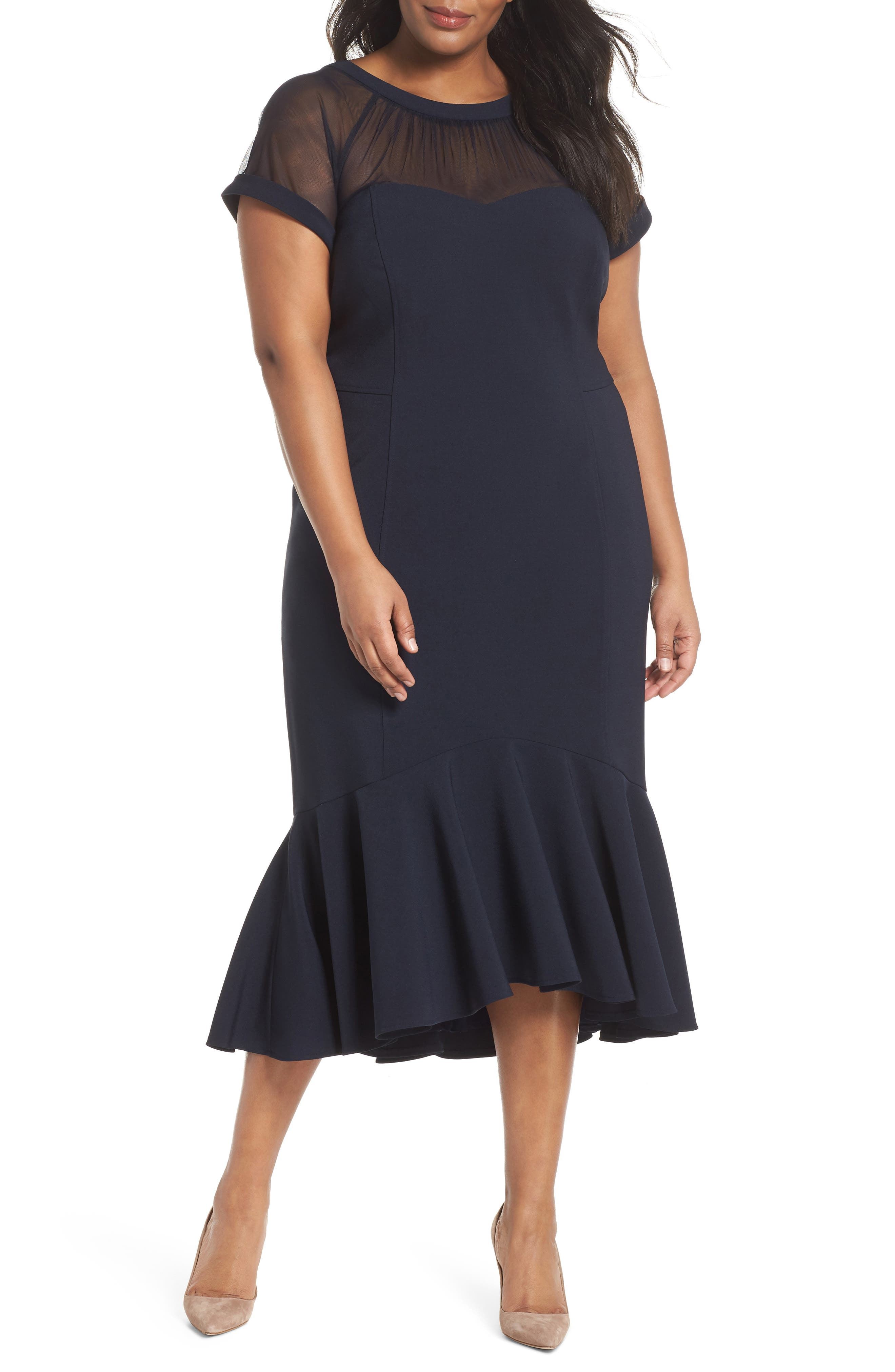 Illusion Flare Hem Midi Dress,                             Main thumbnail 1, color,                             Dark Navy