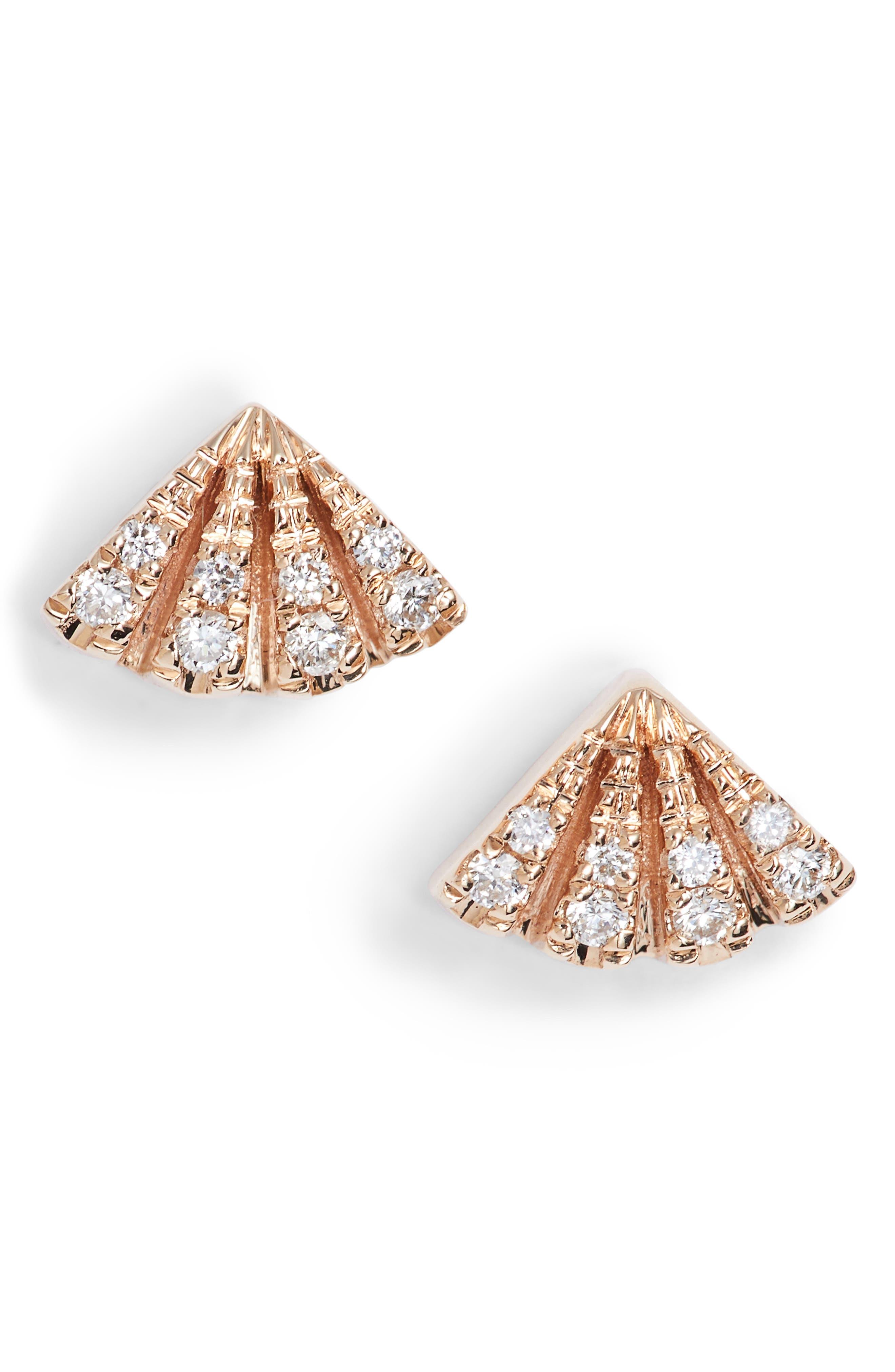 Dana Rebecca Isla Rio Diamond Fan Stud Earrings,                             Main thumbnail 1, color,                             Rose Gold