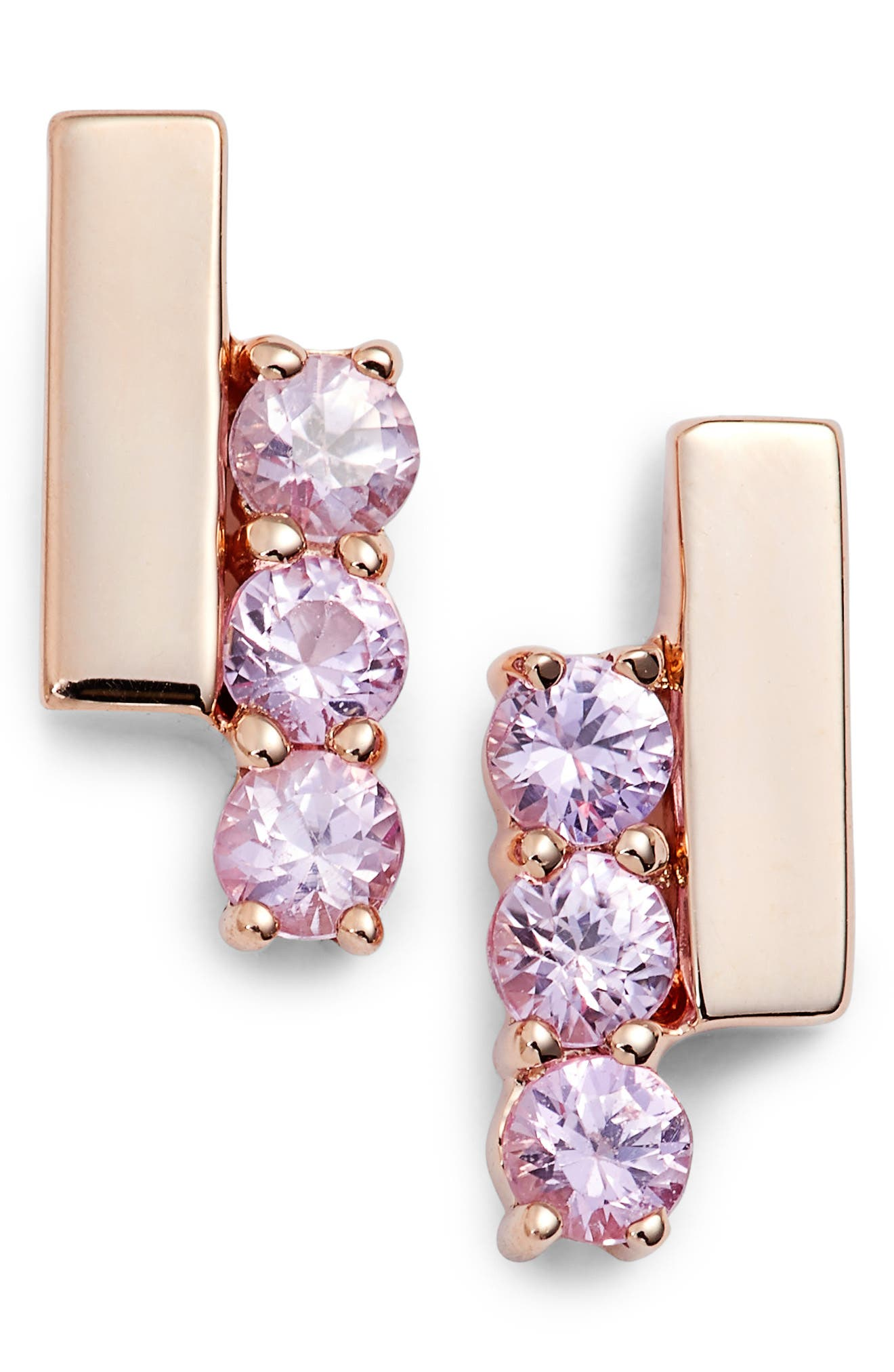 Dana Rebecca Designs Sylvie Rose Sapphire Bar Stud Earrings